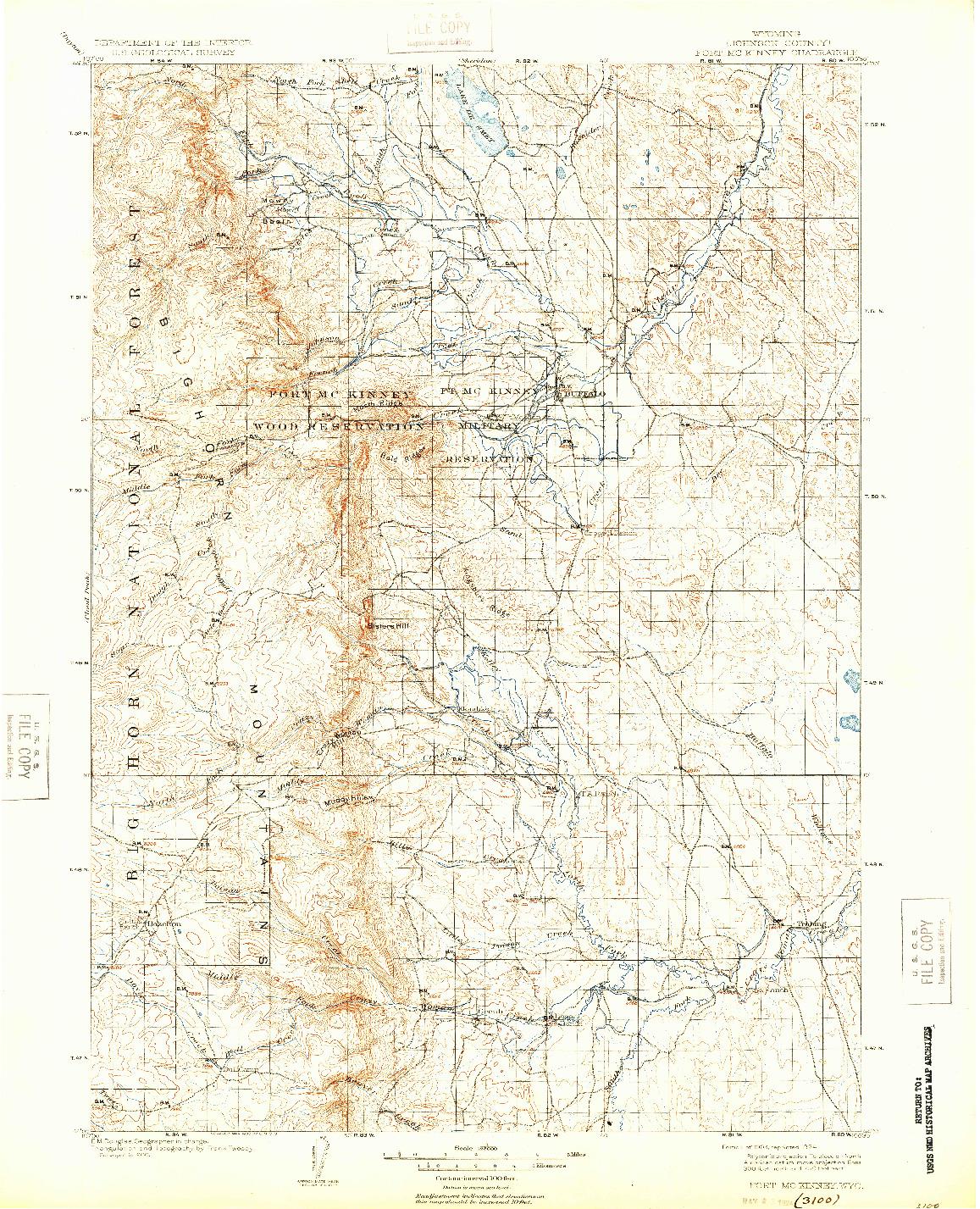 USGS 1:125000-SCALE QUADRANGLE FOR FORT MCKINNEY, WY 1903