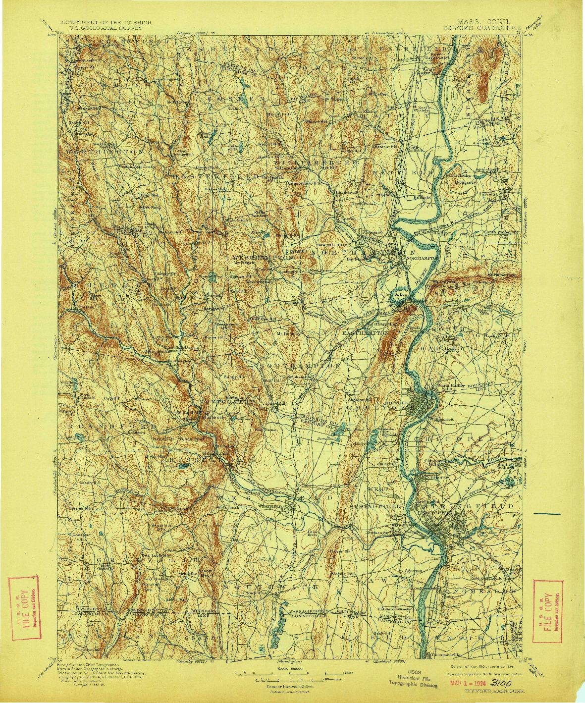 USGS 1:125000-SCALE QUADRANGLE FOR HOLYOKE, MA 1901
