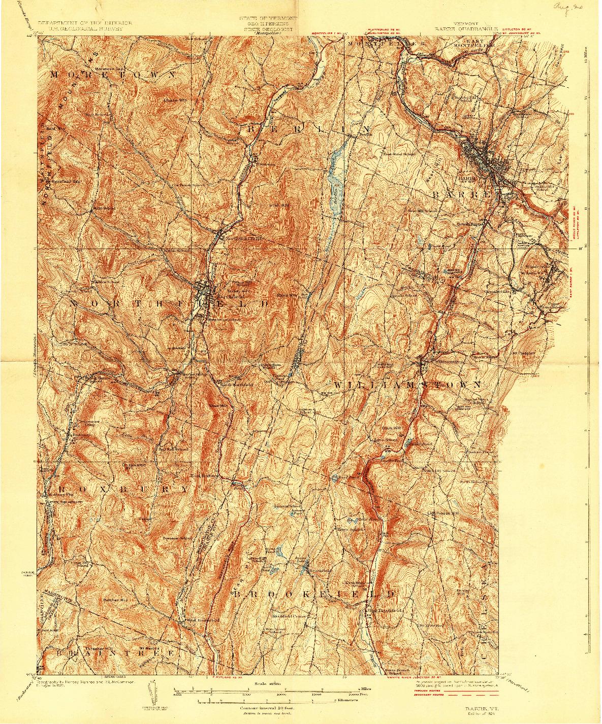 USGS 1:62500-SCALE QUADRANGLE FOR BARRE, VT 1924