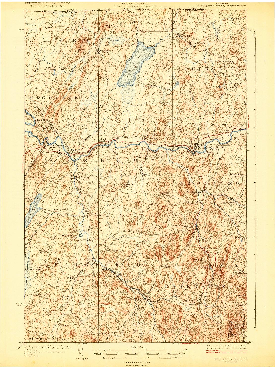 USGS 1:62500-SCALE QUADRANGLE FOR ENOSBURG FALLS, VT 1924