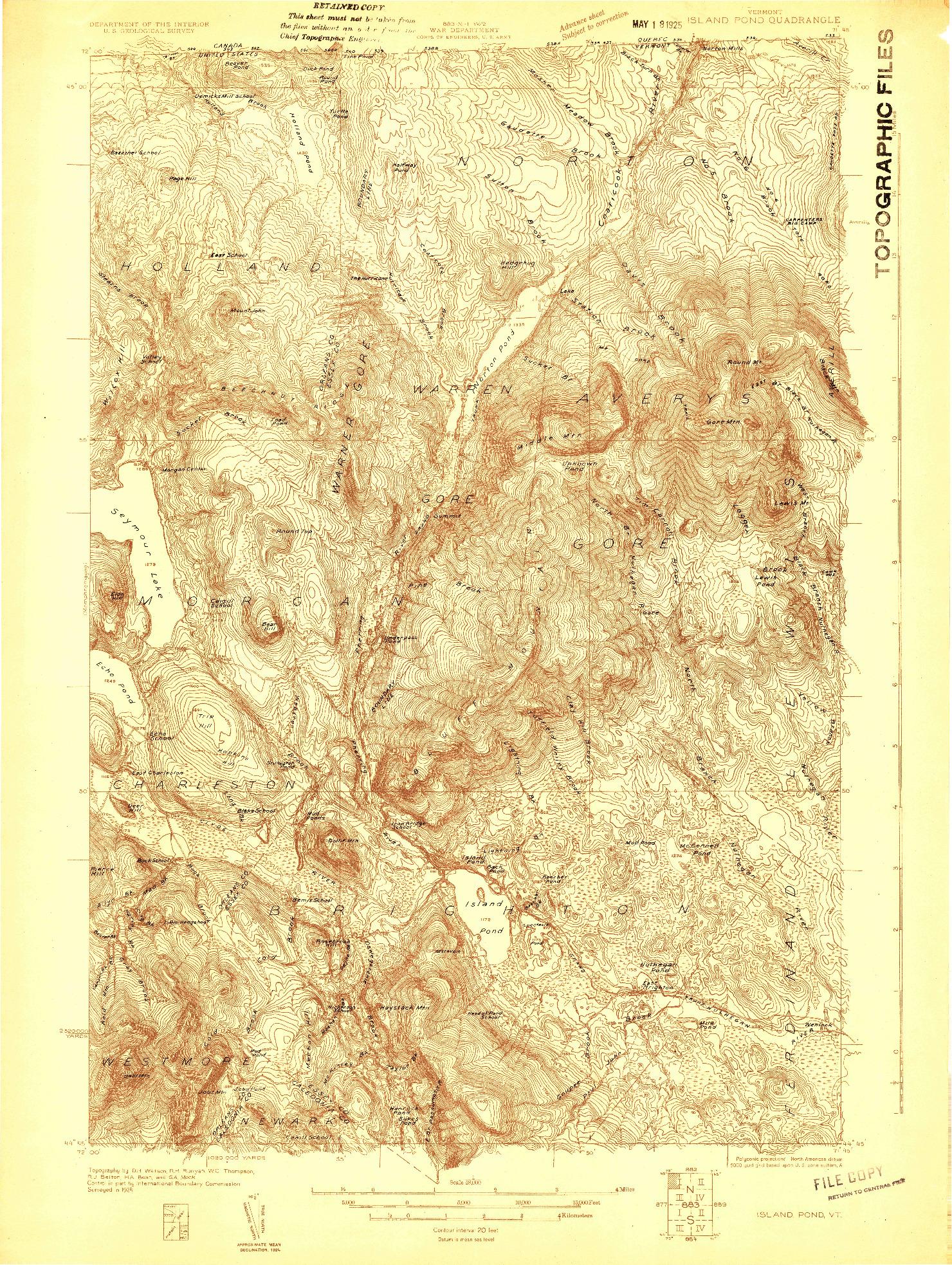 USGS 1:48000-SCALE QUADRANGLE FOR ISLAND POND, VT 1924