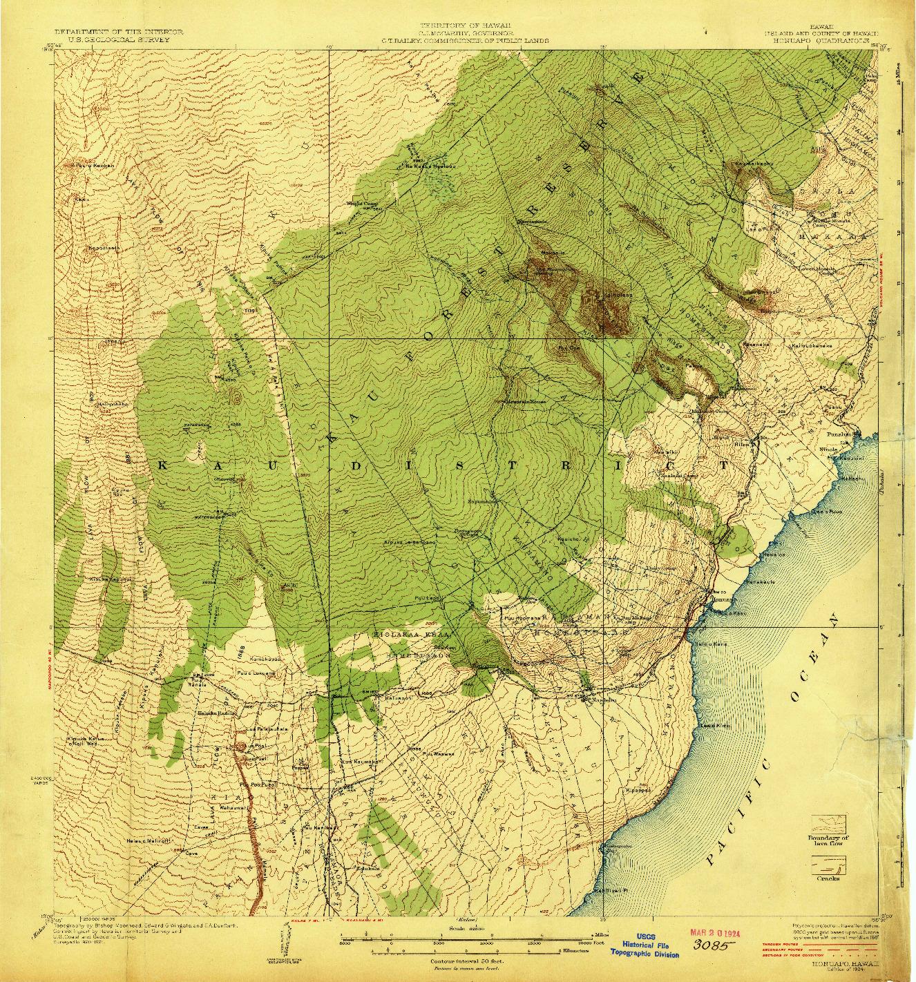 USGS 1:62500-SCALE QUADRANGLE FOR HONUAPO, HI 1924