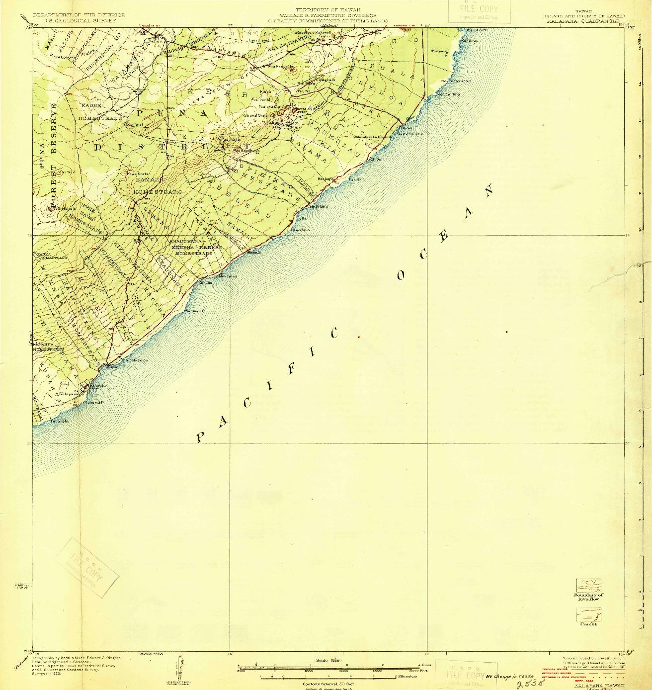 USGS 1:62500-SCALE QUADRANGLE FOR KALAPANA, HI 1924