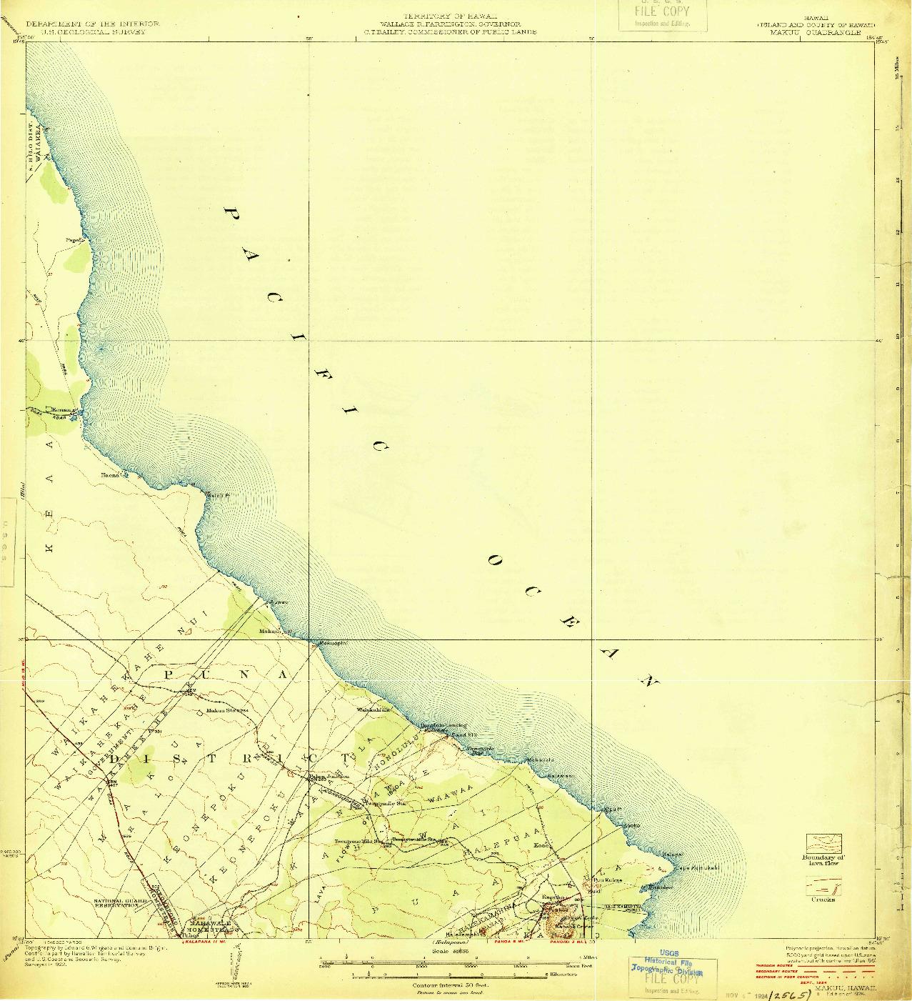 USGS 1:62500-SCALE QUADRANGLE FOR MAKUU, HI 1924