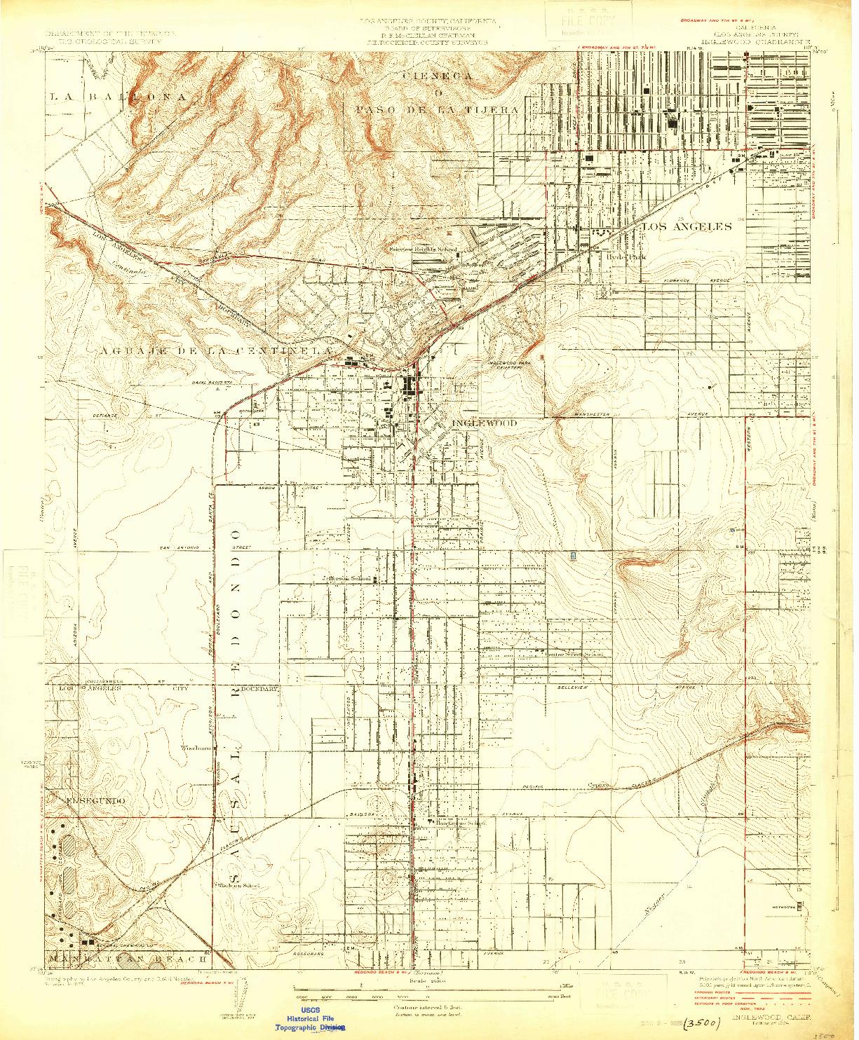 USGS 1:24000-SCALE QUADRANGLE FOR INGLEWOOD, CA 1924
