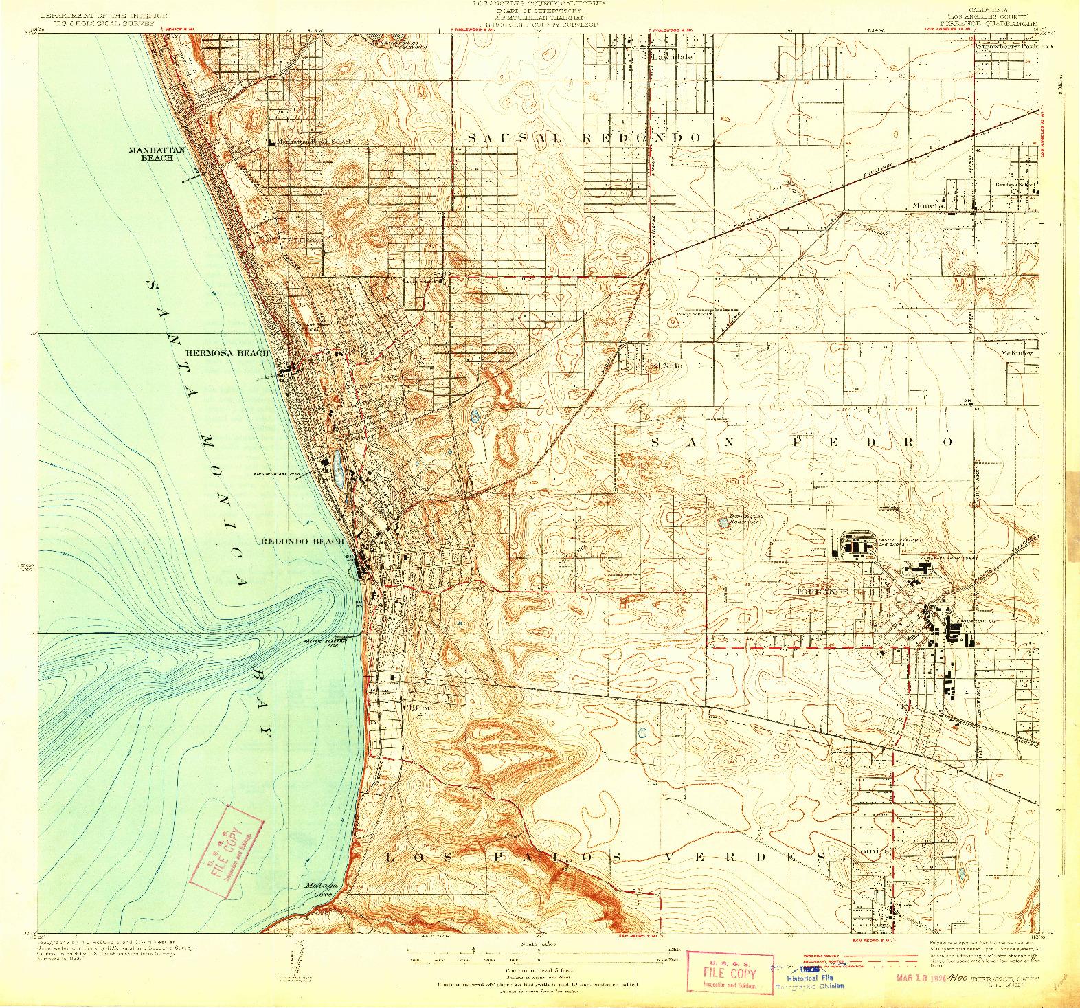 USGS 1:24000-SCALE QUADRANGLE FOR TORRANCE, CA 1924