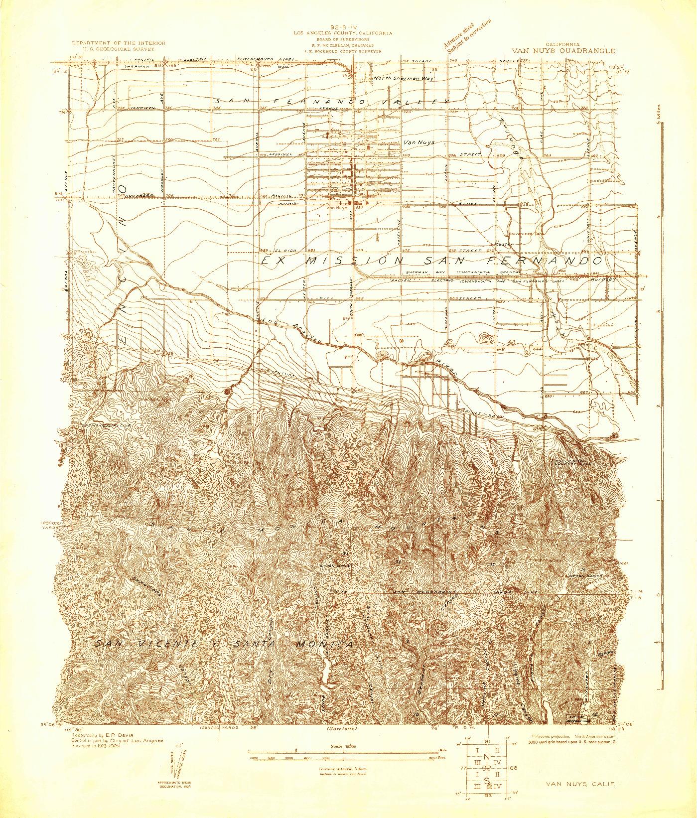 USGS 1:24000-SCALE QUADRANGLE FOR VAN NUYS, CA 1924