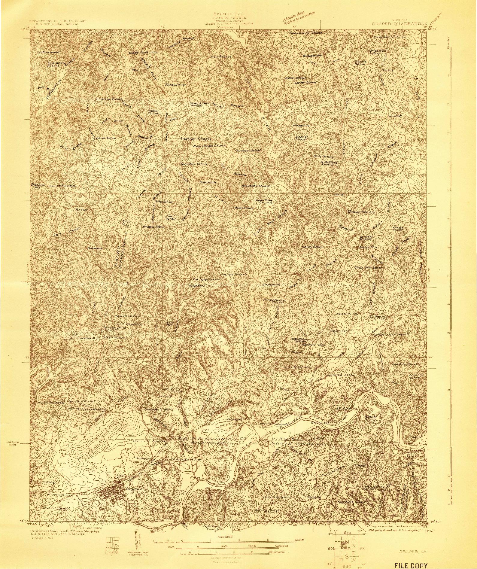 USGS 1:48000-SCALE QUADRANGLE FOR DRAPER, VA 1924