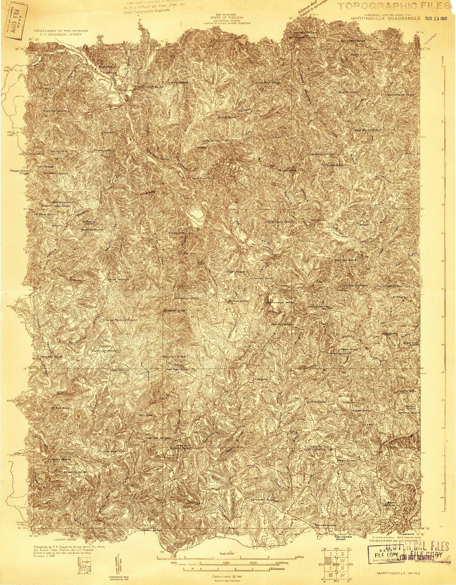 USGS 1:48000-SCALE QUADRANGLE FOR MARTINSVILLE, VA 1924
