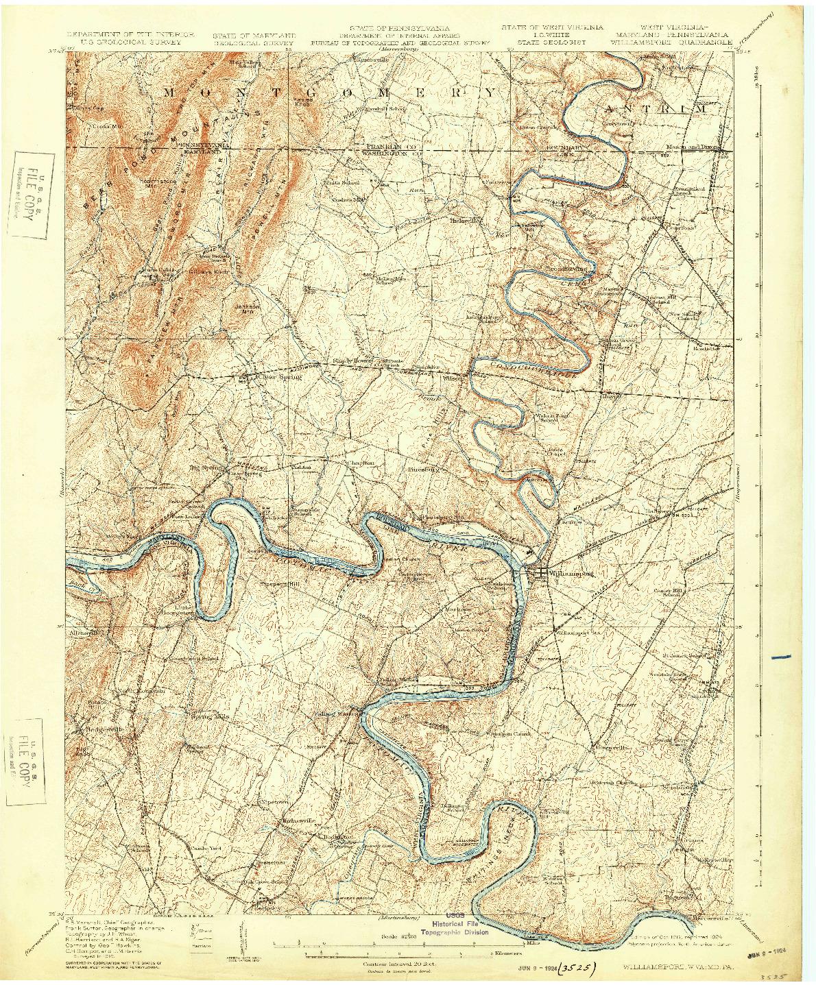 USGS 1:62500-SCALE QUADRANGLE FOR WILLIAMSPORT, WV 1912