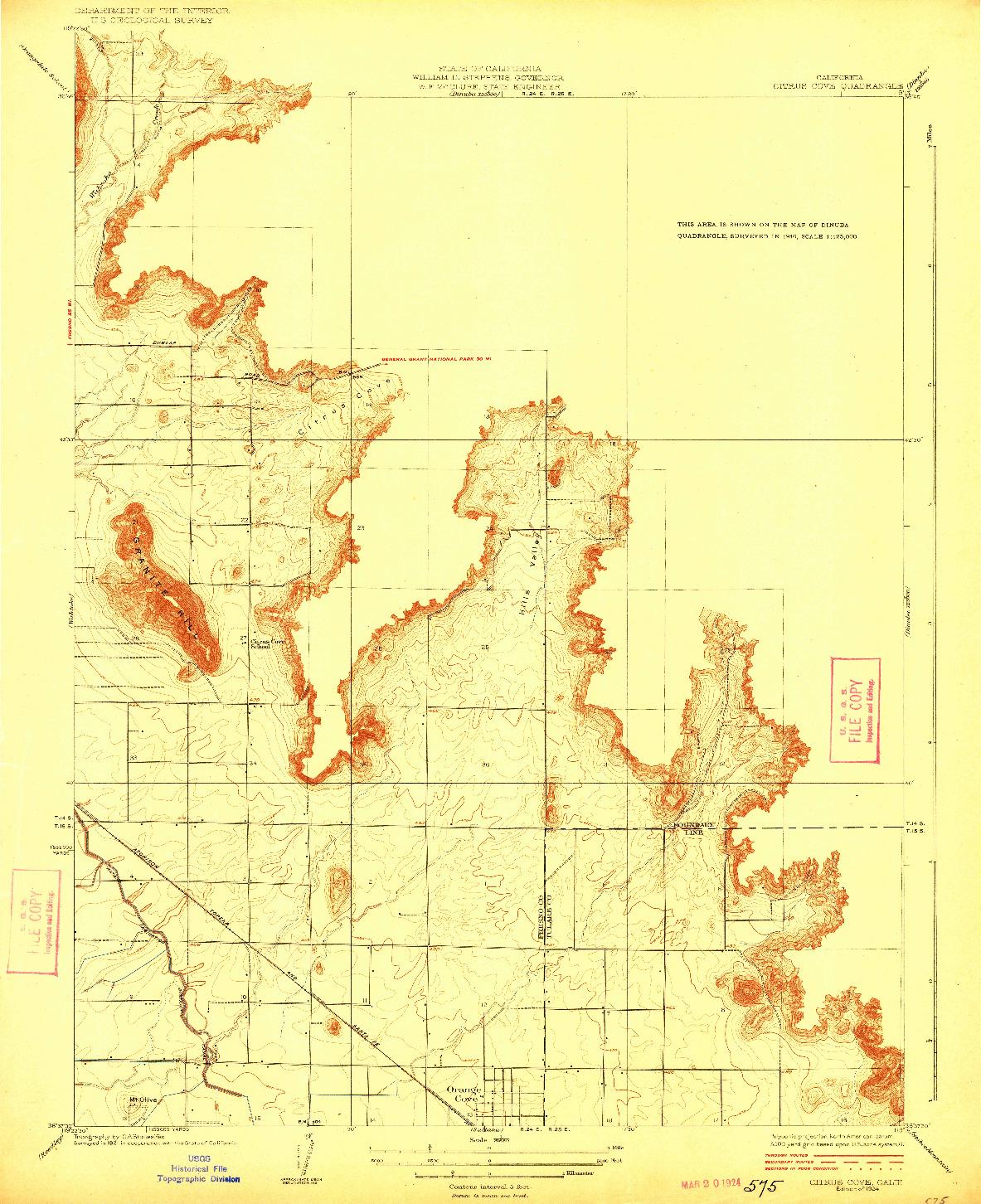 USGS 1:31680-SCALE QUADRANGLE FOR CITRUS COVE, CA 1924