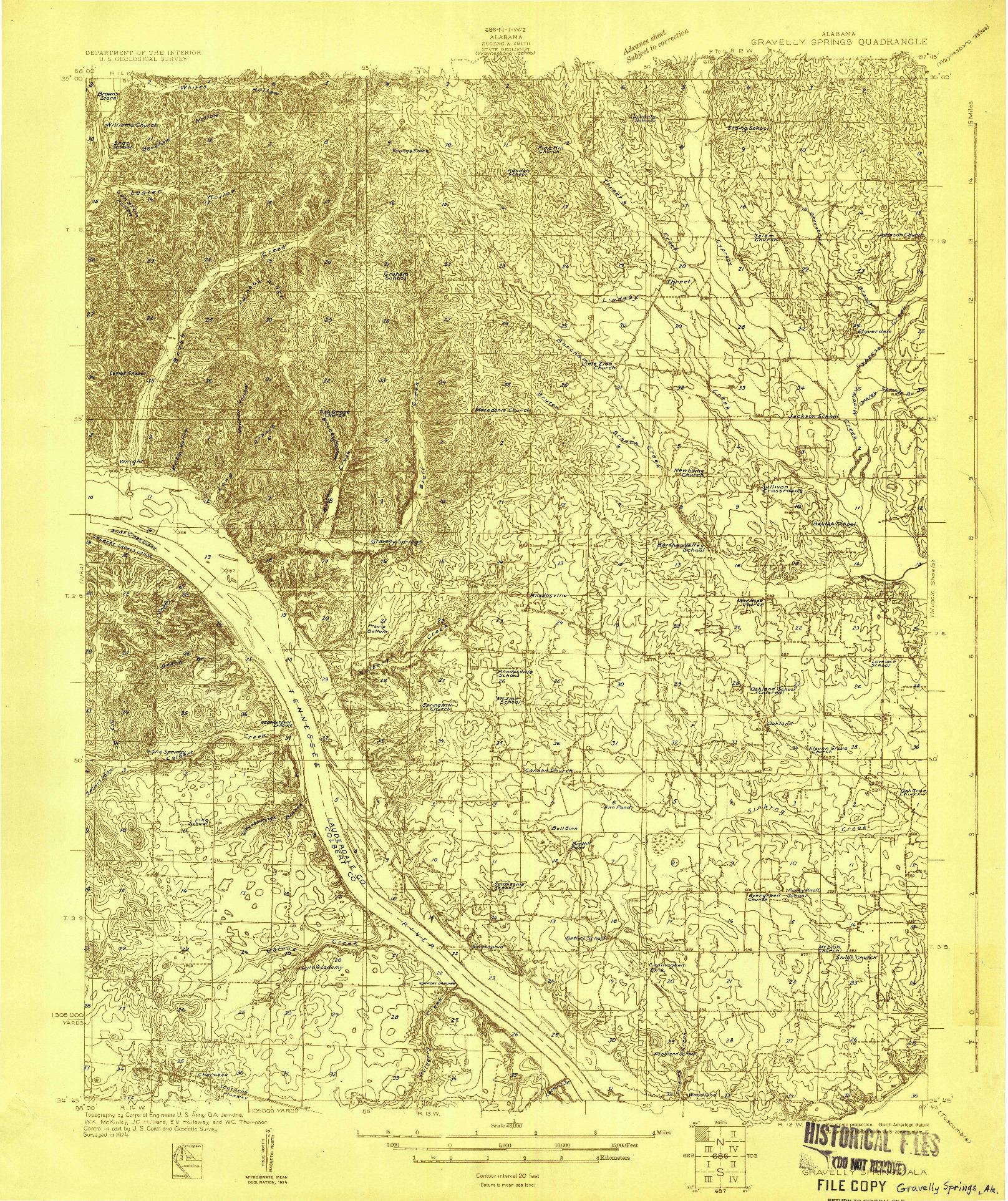 USGS 1:48000-SCALE QUADRANGLE FOR GRAVELLY SPRINGS, AL 1924