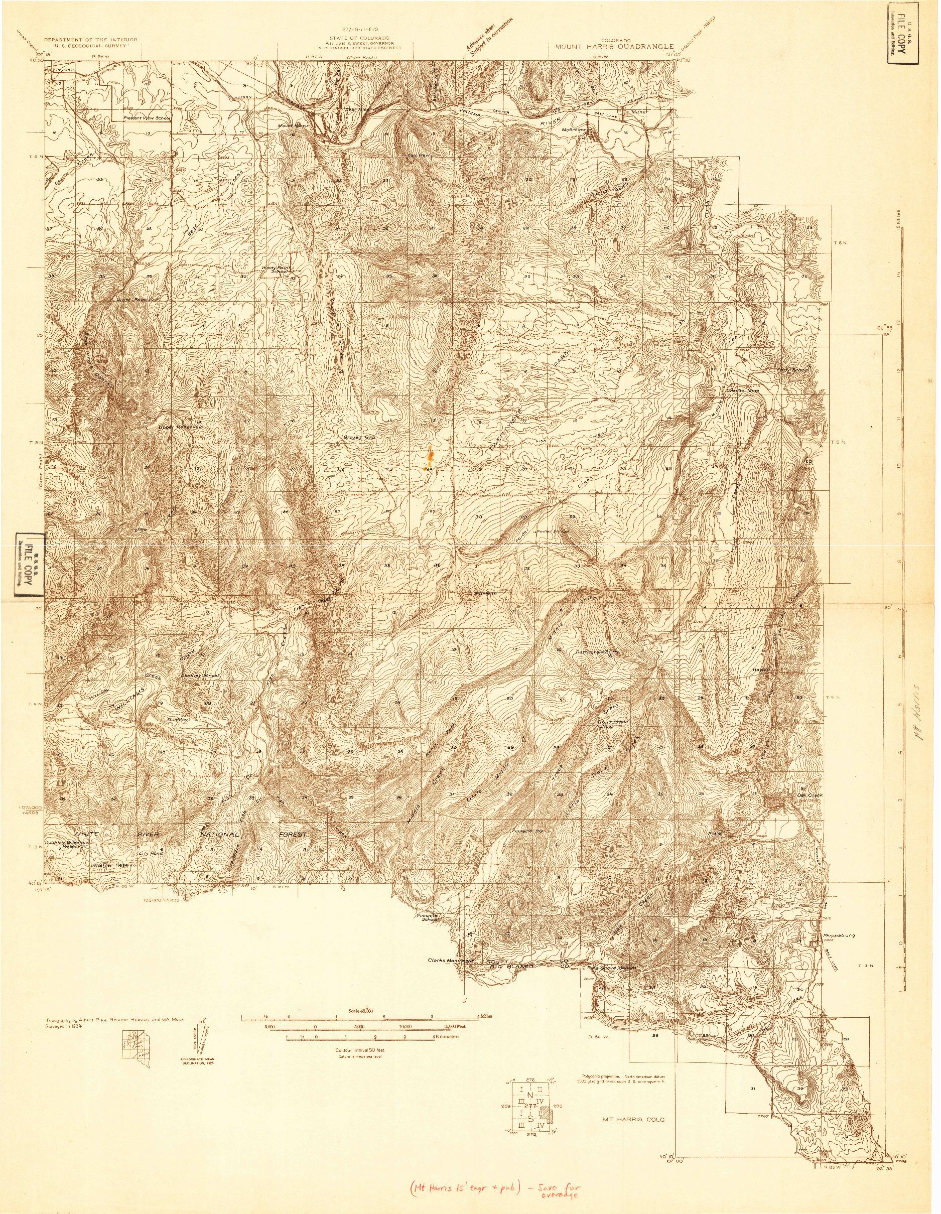 USGS 1:48000-SCALE QUADRANGLE FOR MT. HARRIS, CO 1924