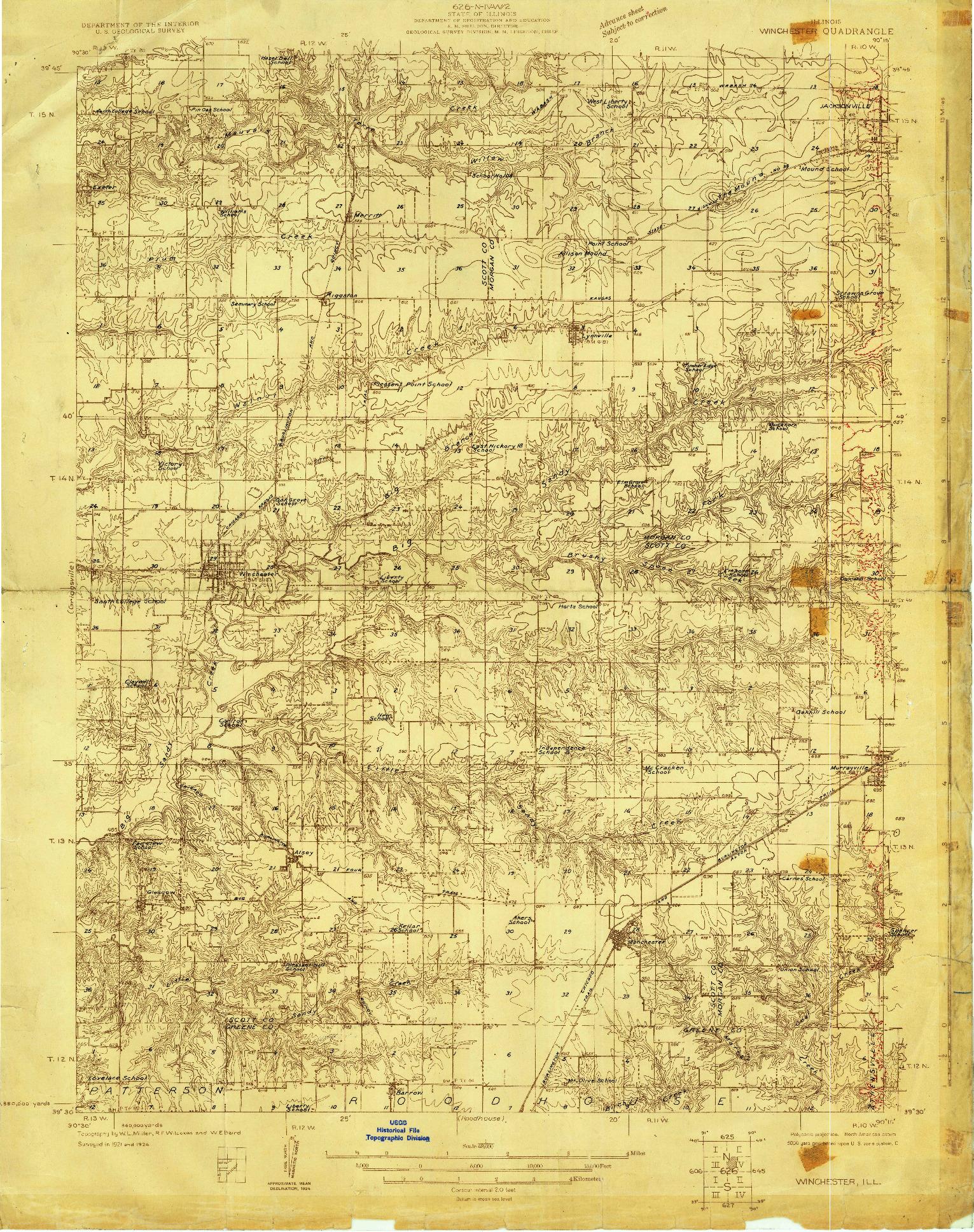 USGS 1:48000-SCALE QUADRANGLE FOR WINCHESTER, IL 1924