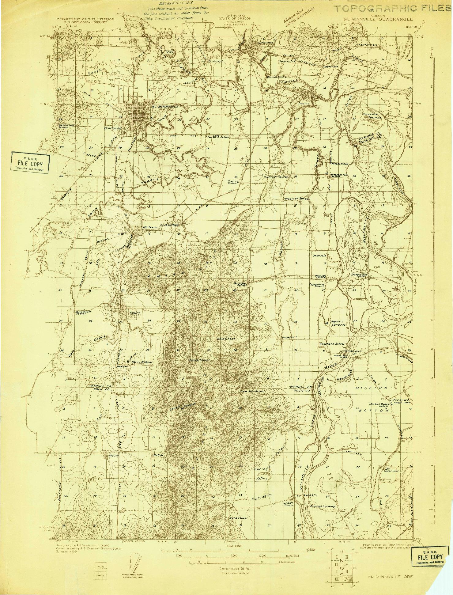 USGS 1:48000-SCALE QUADRANGLE FOR MC MINNVILLE, OR 1924