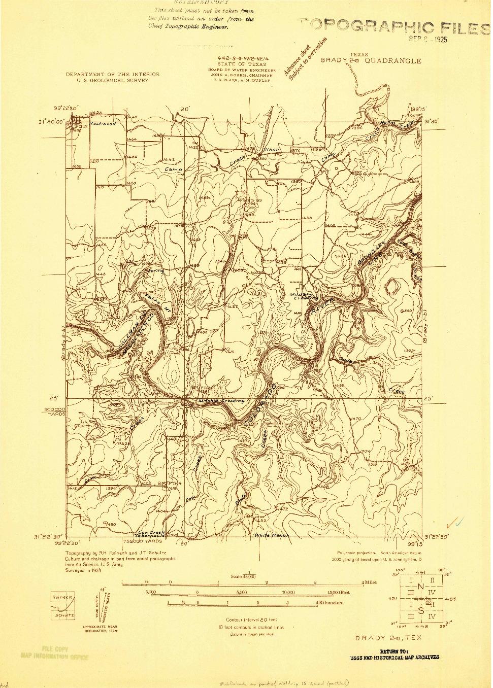 USGS 1:48000-SCALE QUADRANGLE FOR BRADY 2-A, TX 1924