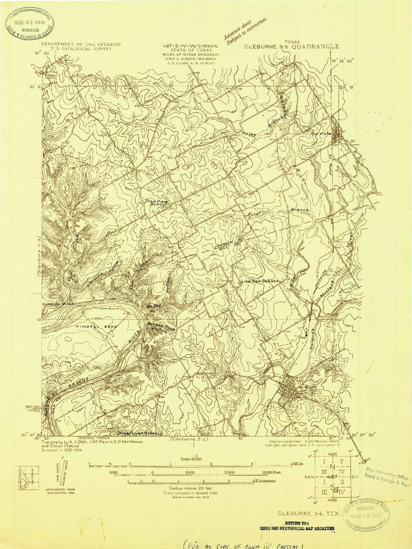 USGS 1:48000-SCALE QUADRANGLE FOR CLEBURNE 3-B, TX 1924