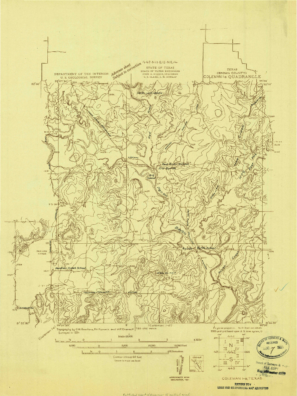 USGS 1:48000-SCALE QUADRANGLE FOR COLEMAN 1-A, TX 1924