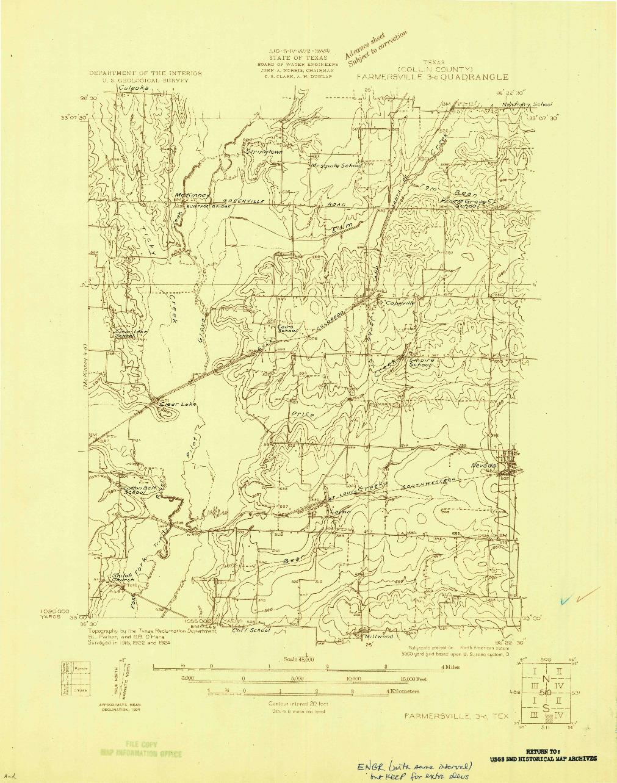 USGS 1:48000-SCALE QUADRANGLE FOR FARMERSVILLE 3-C, TX 1924