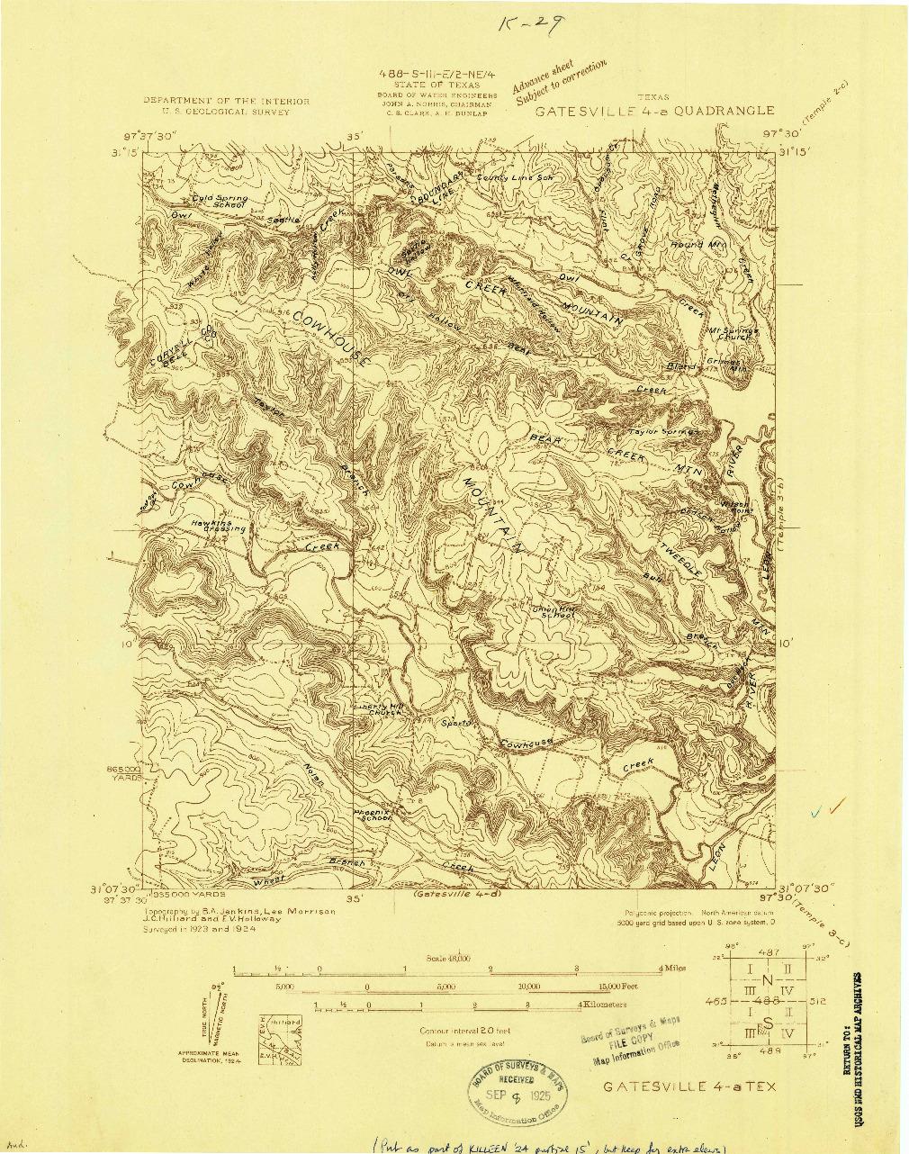 USGS 1:48000-SCALE QUADRANGLE FOR GATESVILLE 4-A, TX 1924