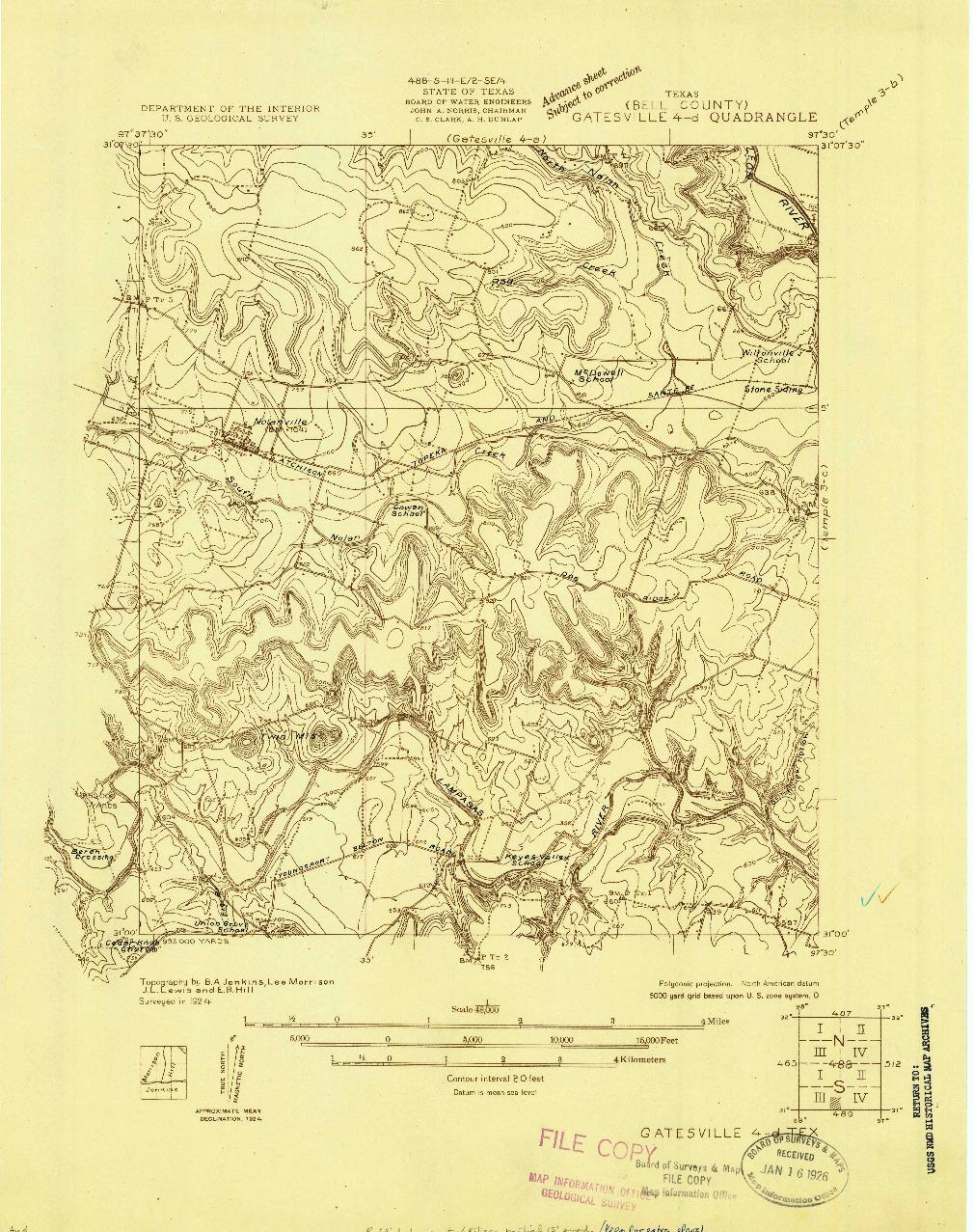 USGS 1:48000-SCALE QUADRANGLE FOR GATESVILLE 4-D, TX 1924