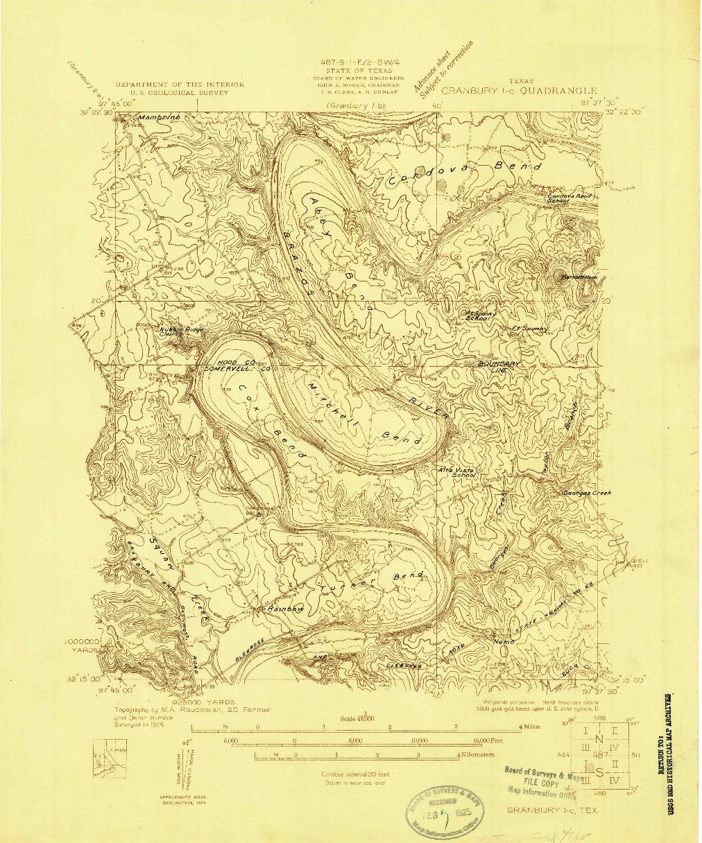 USGS 1:48000-SCALE QUADRANGLE FOR GRANBURY 1-C, TX 1924