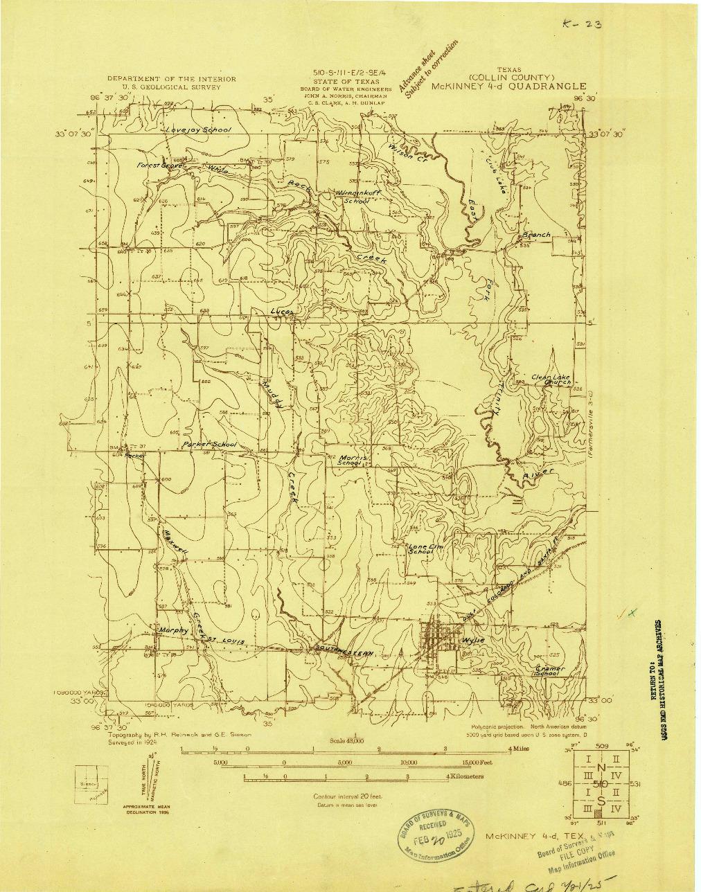 USGS 1:48000-SCALE QUADRANGLE FOR MC KINNEY 4-D, TX 1924