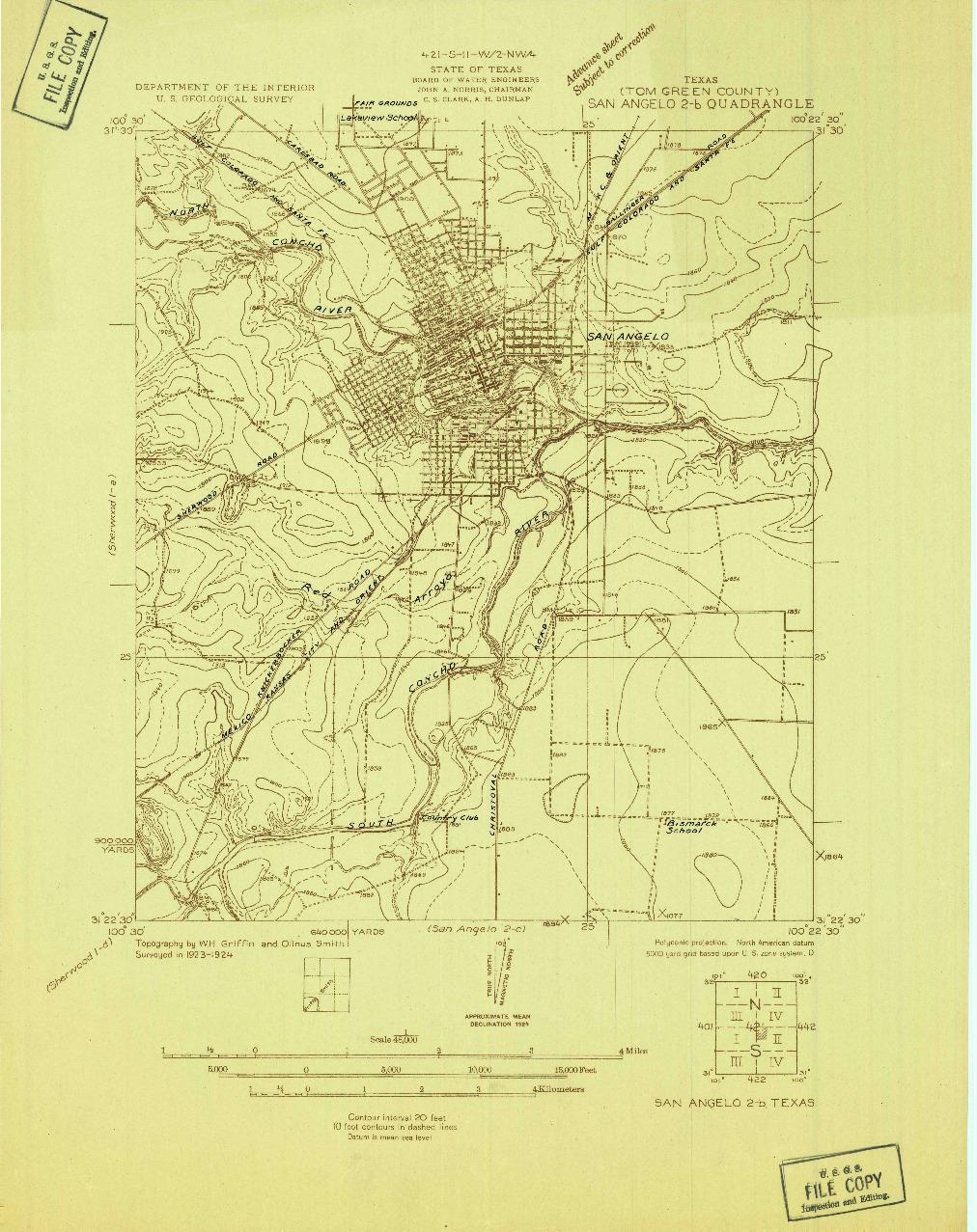 USGS 1:48000-SCALE QUADRANGLE FOR SAN ANGELO 2-B, TX 1924