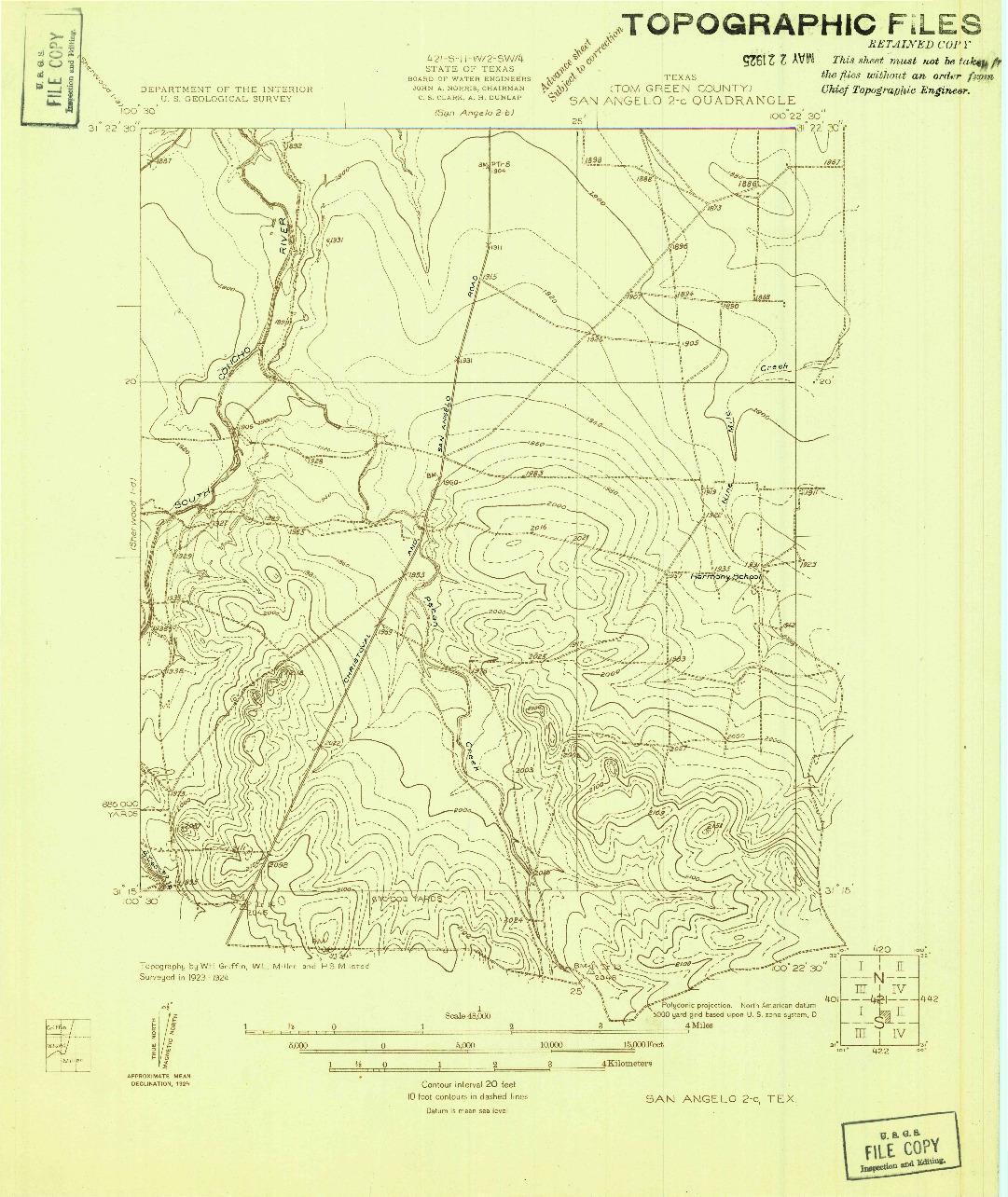 USGS 1:48000-SCALE QUADRANGLE FOR SAN ANGELO 2-C, TX 1924