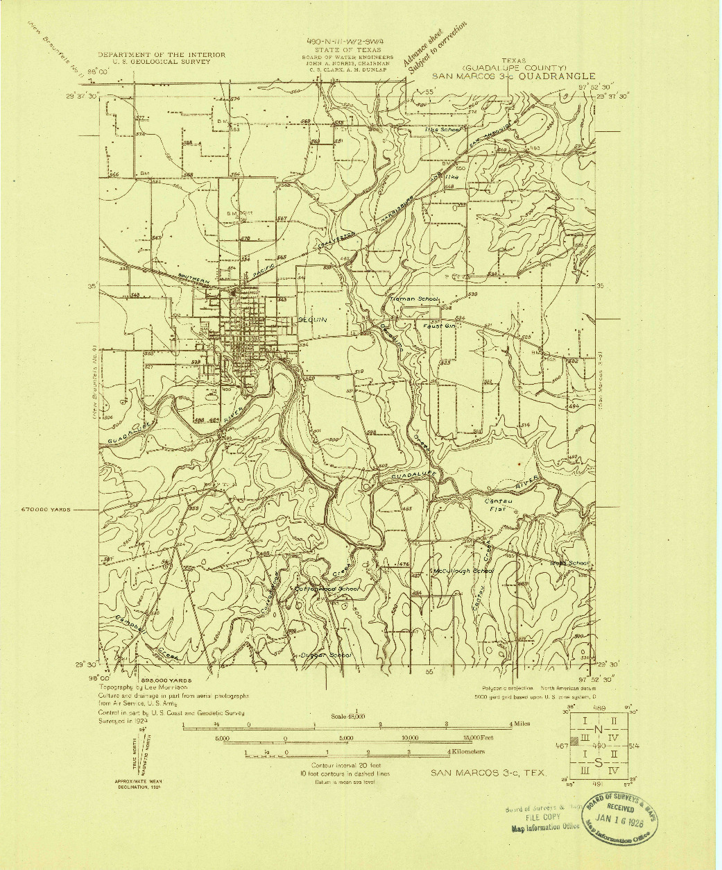 USGS 1:48000-SCALE QUADRANGLE FOR SAN MARCOS 3-C, TX 1924