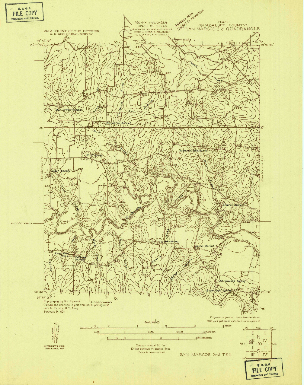 USGS 1:48000-SCALE QUADRANGLE FOR SAN MARCOS 3-D, TX 1924
