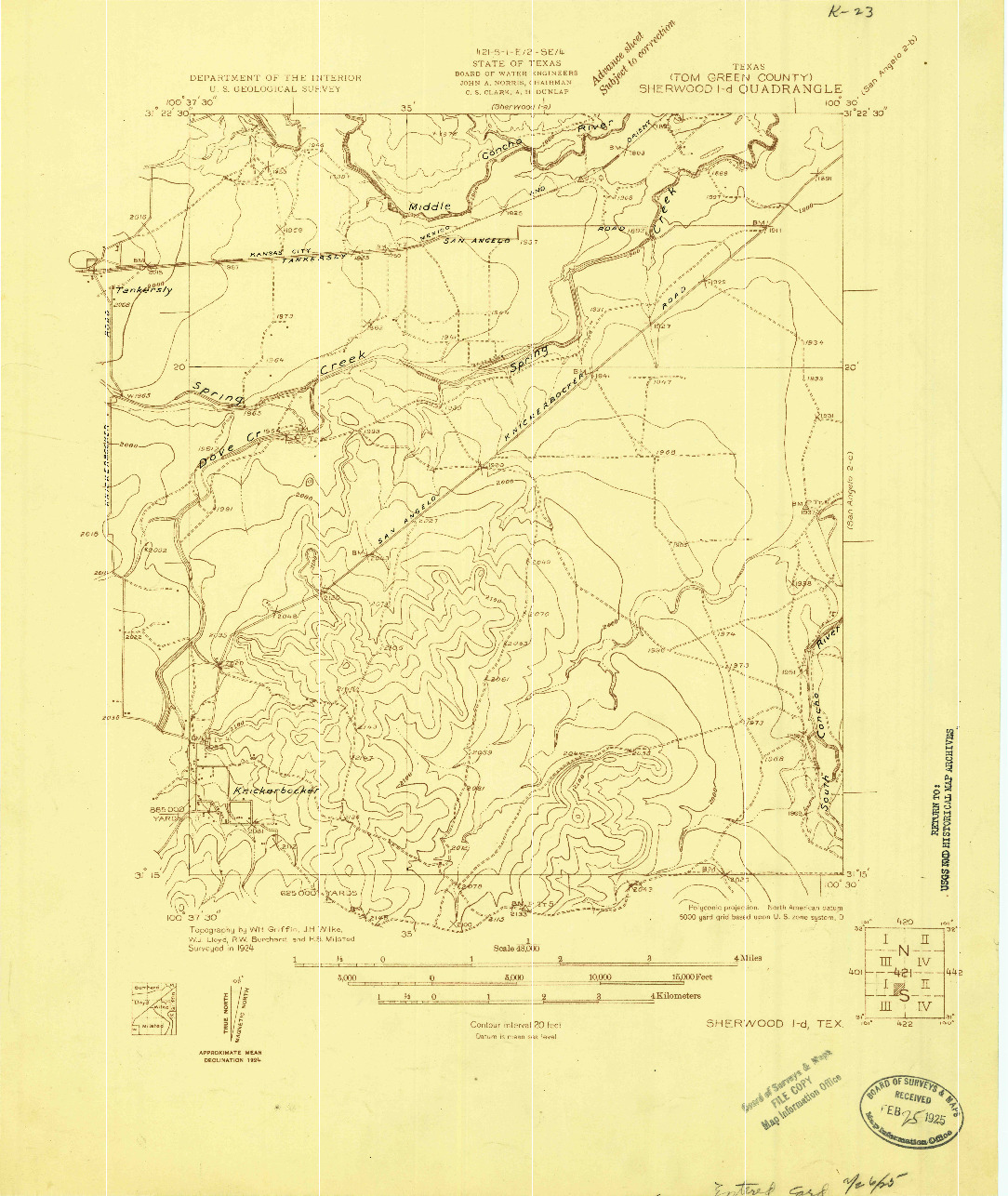 USGS 1:48000-SCALE QUADRANGLE FOR SHERWOOD 1-D, TX 1924