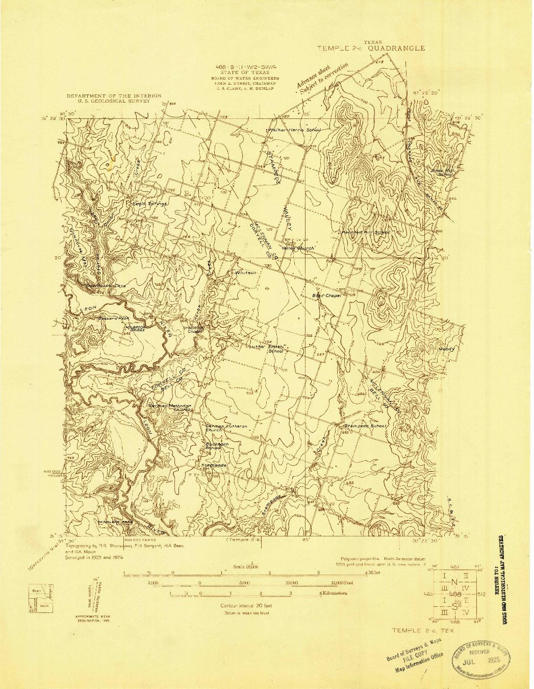 USGS 1:48000-SCALE QUADRANGLE FOR TEMPLE 2-C, TX 1924