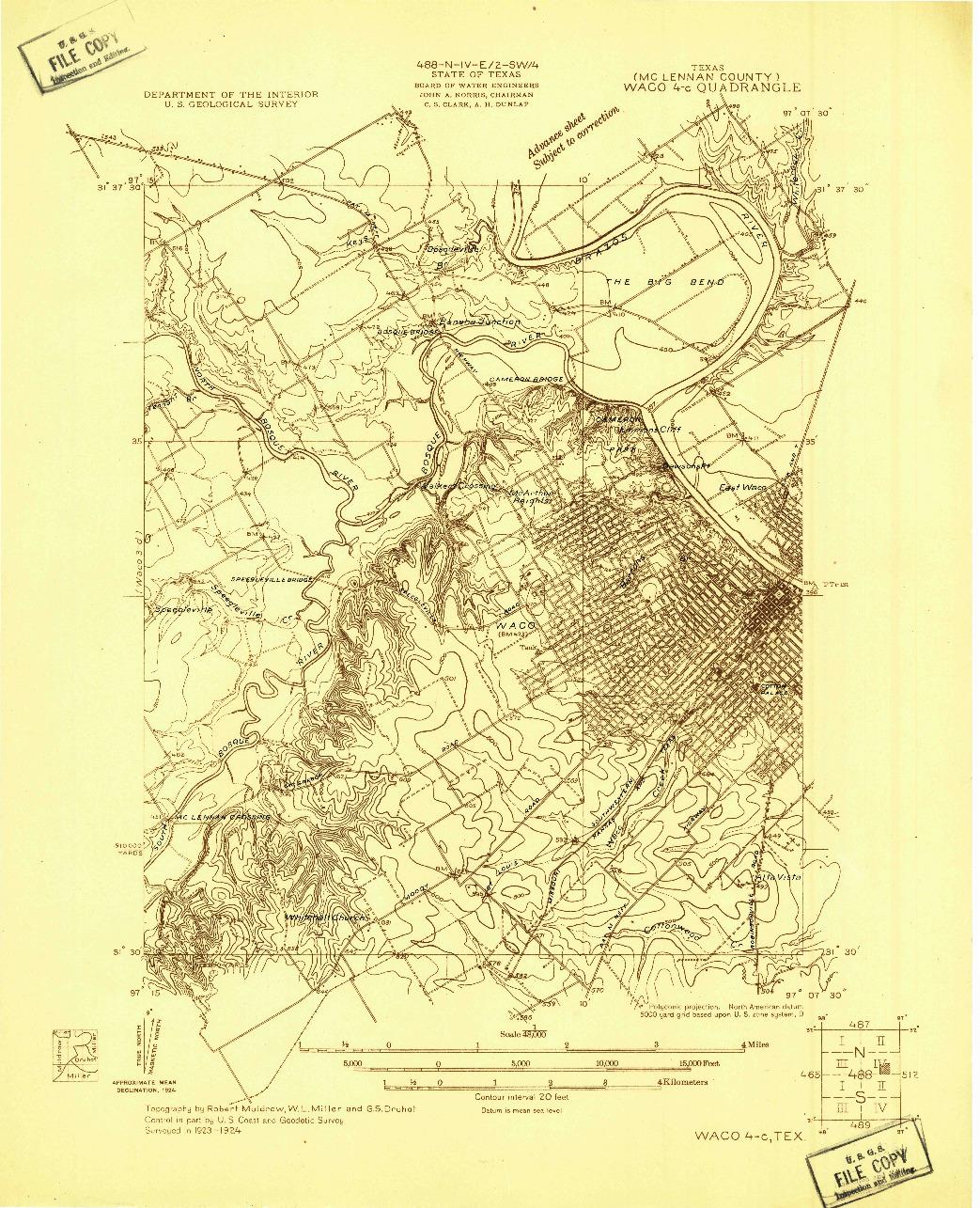 USGS 1:48000-SCALE QUADRANGLE FOR WACO 4-C, TX 1924