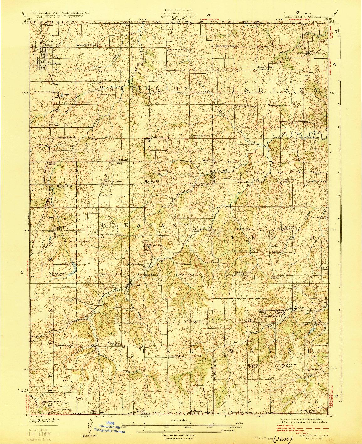 USGS 1:62500-SCALE QUADRANGLE FOR MELCHER, IA 1924