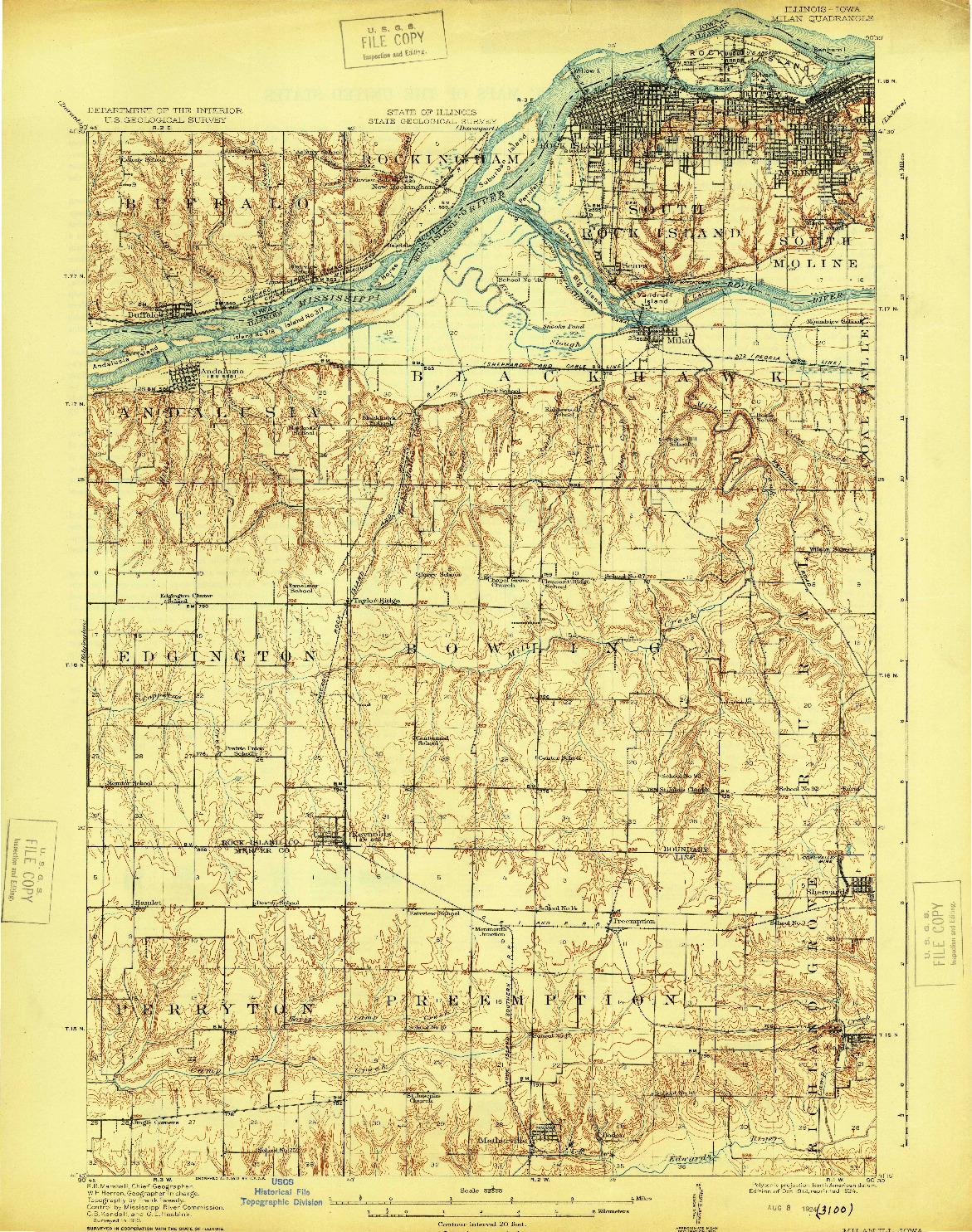 USGS 1:62500-SCALE QUADRANGLE FOR MILAN, IL 1912