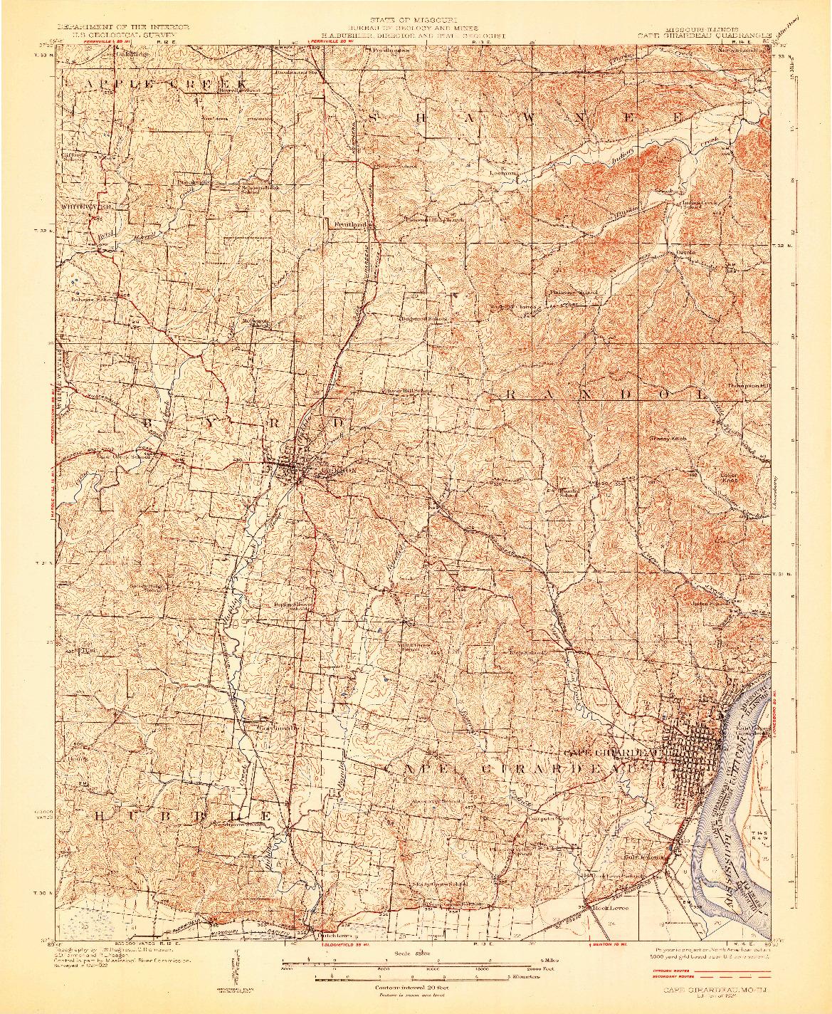 USGS 1:62500-SCALE QUADRANGLE FOR CAPE GIRARDEAU, MO 1924