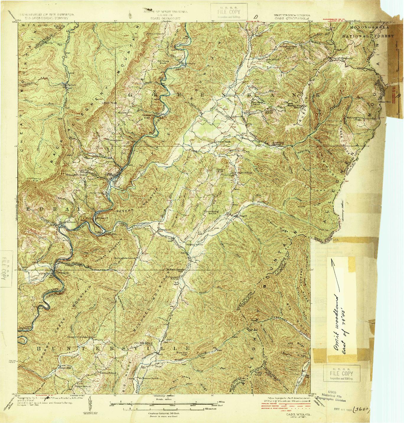 USGS 1:62500-SCALE QUADRANGLE FOR CASS, WV 1924