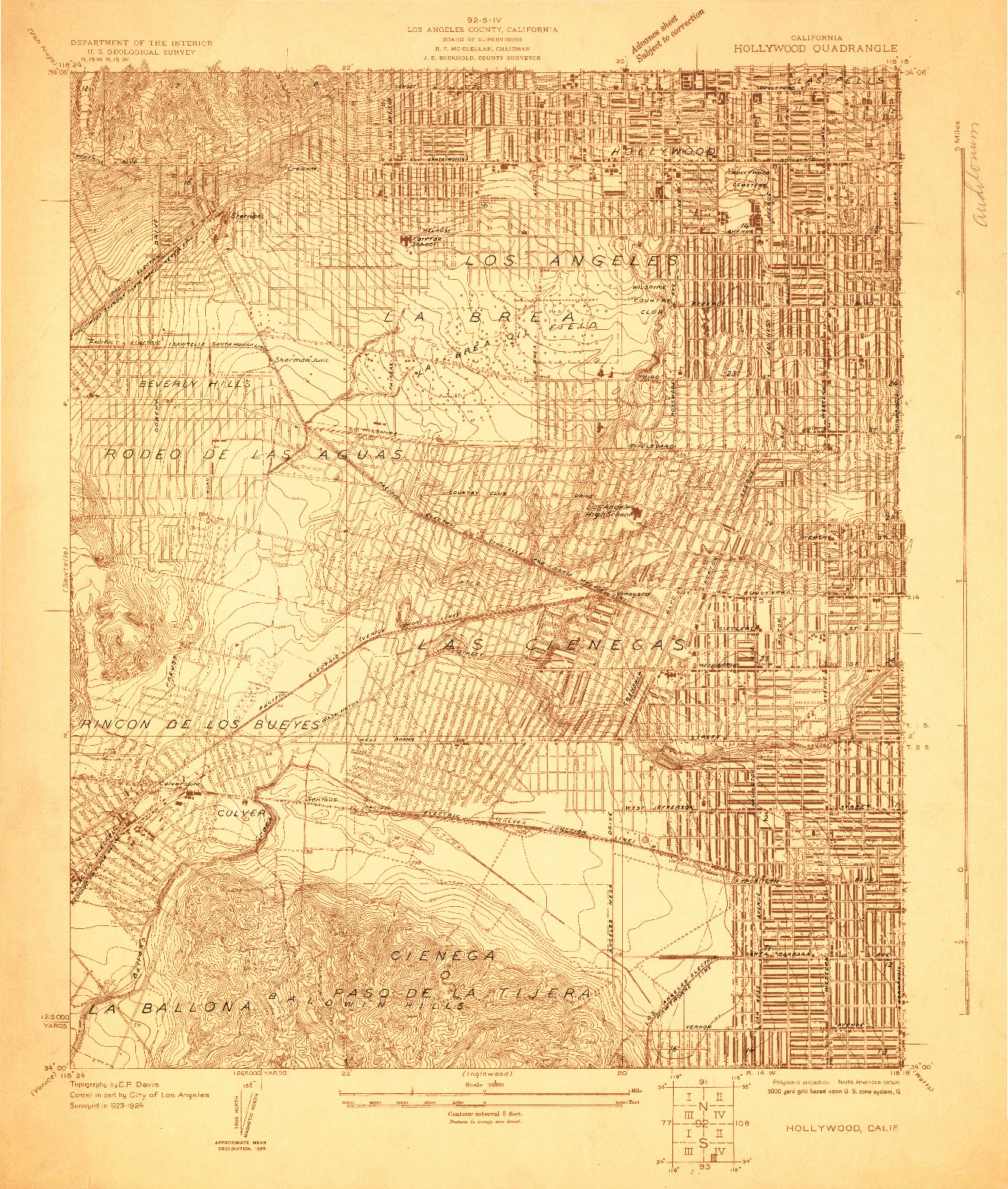 USGS 1:24000-SCALE QUADRANGLE FOR HOLLYWOOD, CA 1924