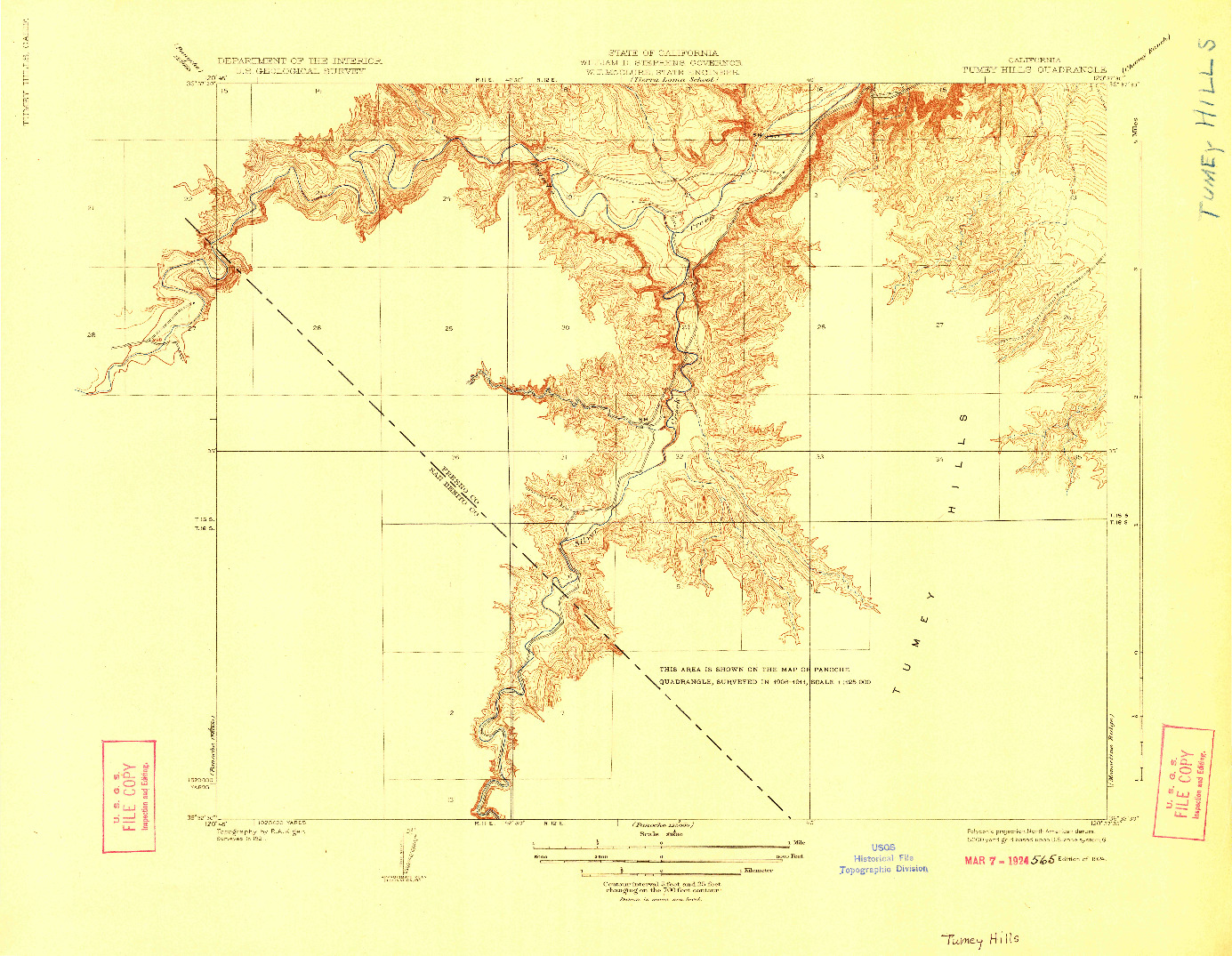 USGS 1:31680-SCALE QUADRANGLE FOR TUMEY HILLS, CA 1924