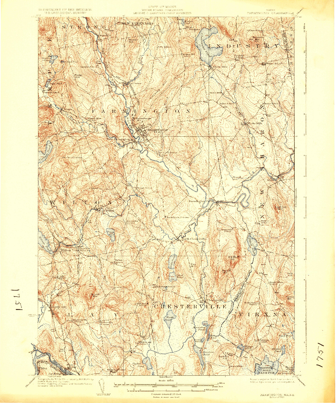 USGS 1:62500-SCALE QUADRANGLE FOR FARMINGTON, ME 1924
