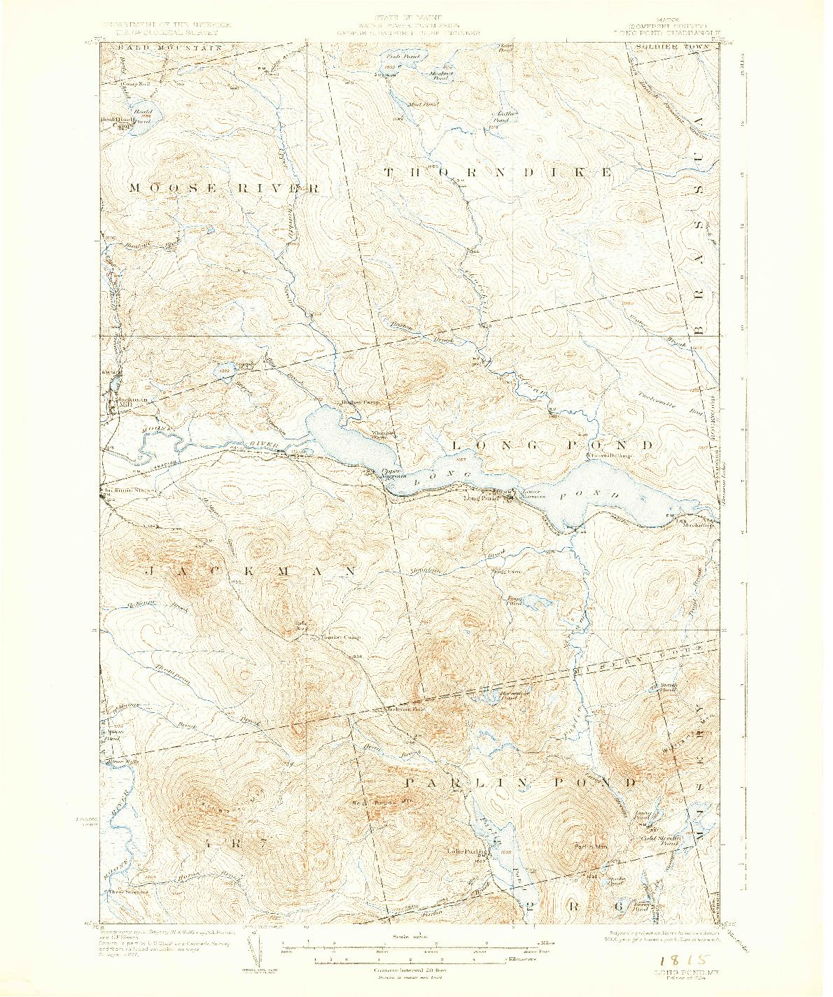 USGS 1:62500-SCALE QUADRANGLE FOR LONG POND, ME 1924