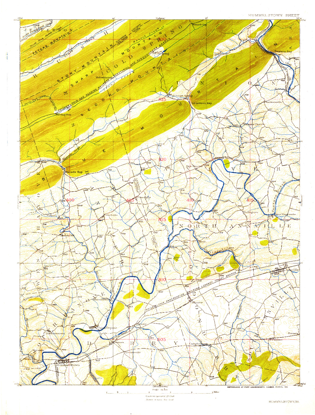 USGS 1:62500-SCALE QUADRANGLE FOR HUMMELSTOWN, PA 1924