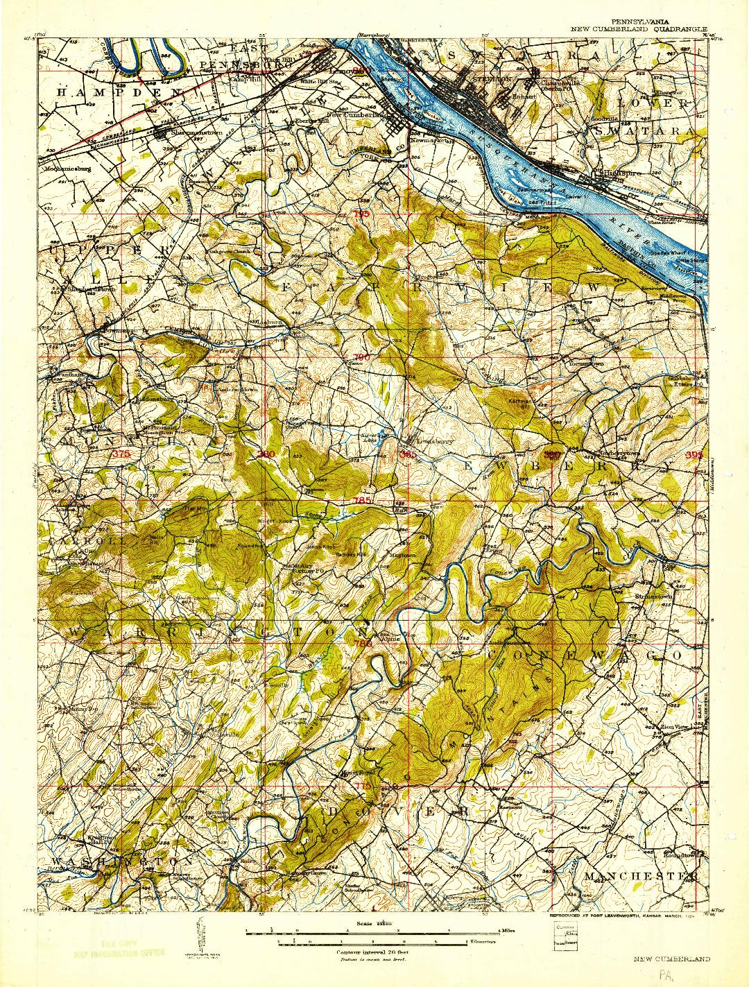 USGS 1:62500-SCALE QUADRANGLE FOR NEW CUMBERLAND, PA 1906