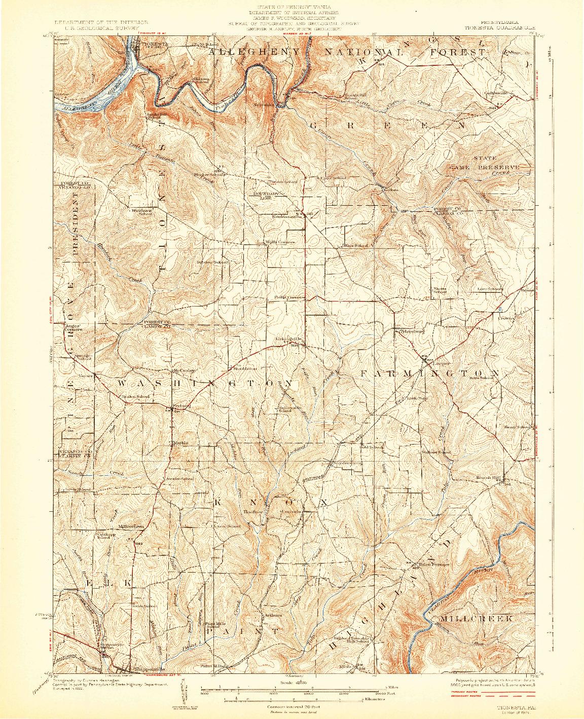 USGS 1:62500-SCALE QUADRANGLE FOR TIONESTA, PA 1924