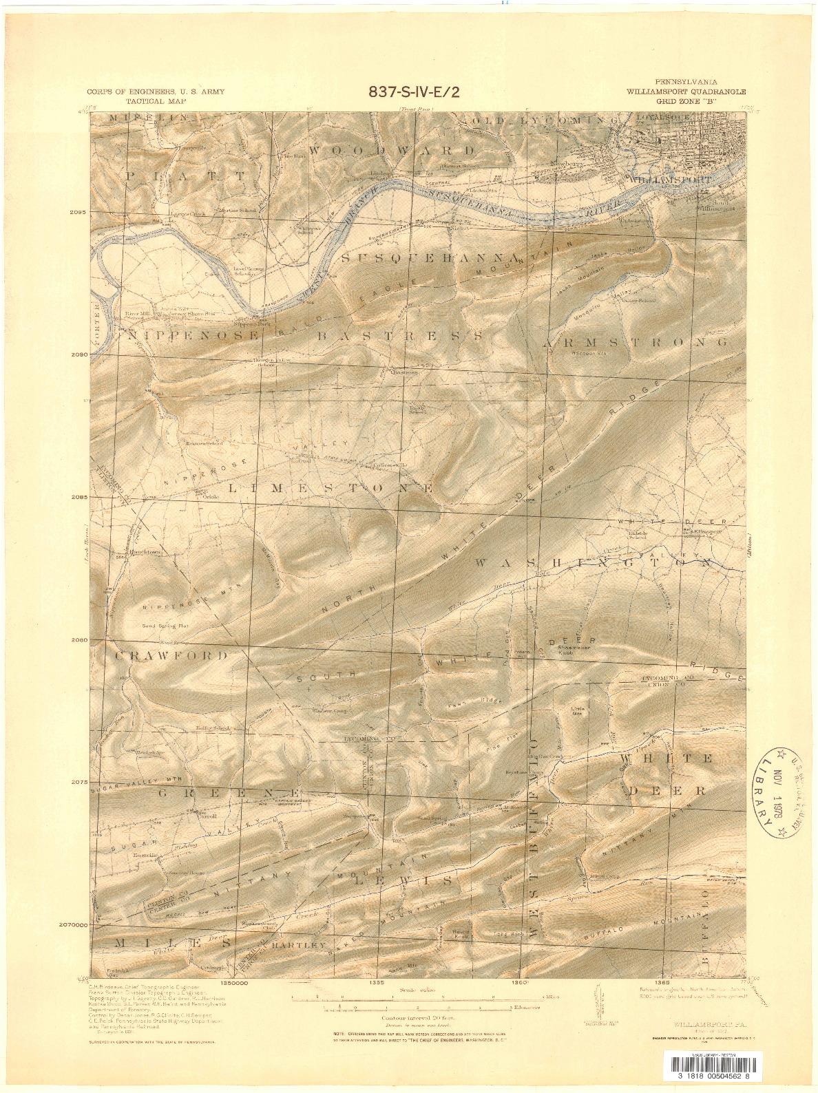 USGS 1:62500-SCALE QUADRANGLE FOR WILLIAMSPORT, PA 1923