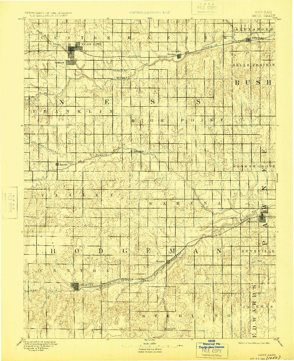 USGS 1:125000-SCALE QUADRANGLE FOR NESS, KS 1894