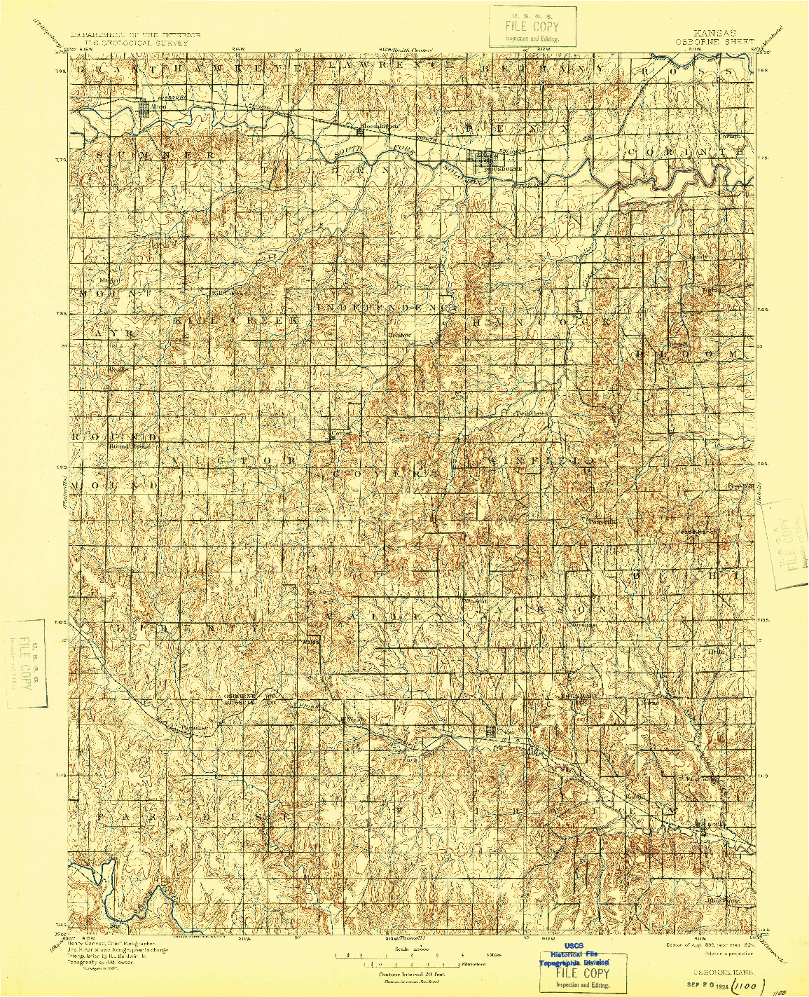 USGS 1:125000-SCALE QUADRANGLE FOR OSBORNE, KS 1896