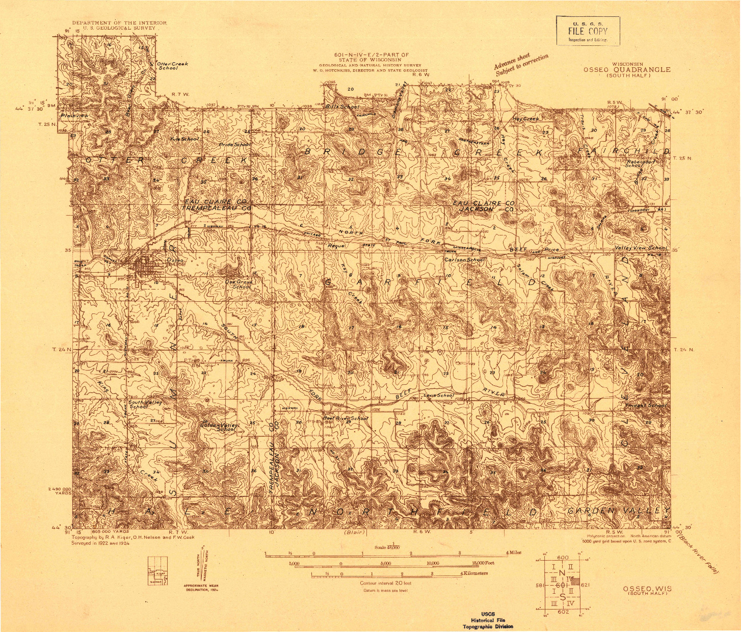 USGS 1:48000-SCALE QUADRANGLE FOR OSSEO (SOUTH HALF), WI 1924
