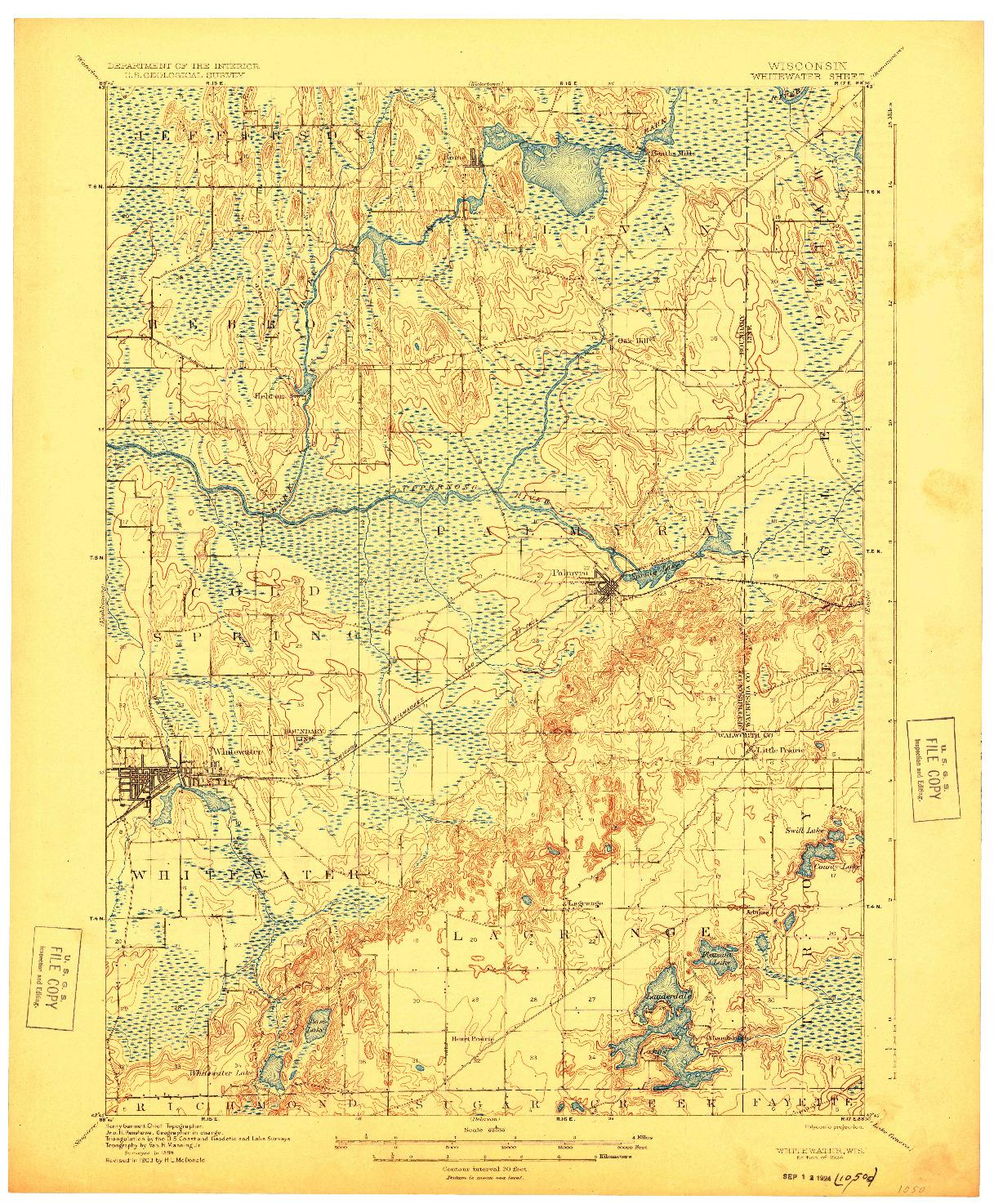 USGS 1:62500-SCALE QUADRANGLE FOR WHITEWATER, WI 1924